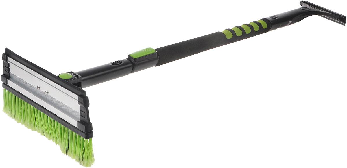 Щетка телескопическая Koto, со скребком и поворотной головкой, цвет: черный, зеленый, 98-140 смSATURN CANCARDКомбинированная щетка для чистки снега Koto имеет удобную конструкцию и мягкую эргономичную ручку. Щетина изготовлена из искусственного материала средней жесткости. На обратной стороне щетки расположен съемный скребок. Он выполнен из прочного пластика и снабжен выступами для чистки льда. Щетка оснащена поворотной головой и телескопической ручкой.Длина щетки: 98-140 см.Ширина рабочей части: 27 см.