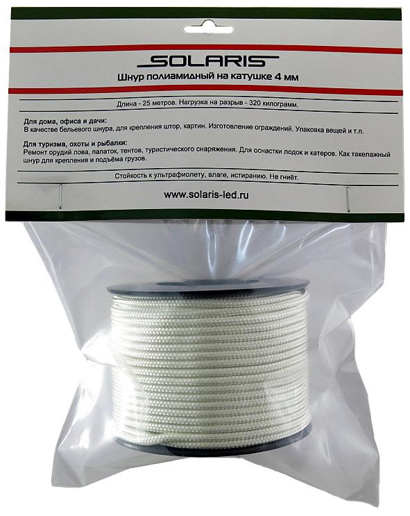 Шнур полиамидный Solaris S6303, на катушке, 4 мм х 25 м, цвет: белый80-134Прочный многоцелевой плетеный шнур из полиамида, выдерживает нагрузку на разрыв 320 кг. Для удобства использования шнур намотан на катушку.Шнур состоит из плотно сплетенных прядей вокруг сердечника. Благодаря такой конструкции шнур не расплетается при повреждении одной или даже нескольких прядей. Сферы применения полиамидного шнура:- Туризм, рыбалка, охота:- Ремонт орудий лова, палаток, тентов, туристического снаряжения. Применяется для оснастки лодок и катеров, развешивания рыбы для сушки. Изготовление силков, снегоступов и т.п. - Дачное и домашнее хозяйство, для офиса: - Подвязывание рассады, разметка участка, изготовление ограждений. В качестве бельевого шнура, для крепления штор, картин и т.п. Подходит для декорирования деталей интерьера. Упаковка коробок, вещей. - Такелажных работы:-Для крепления и подъема грузов.
