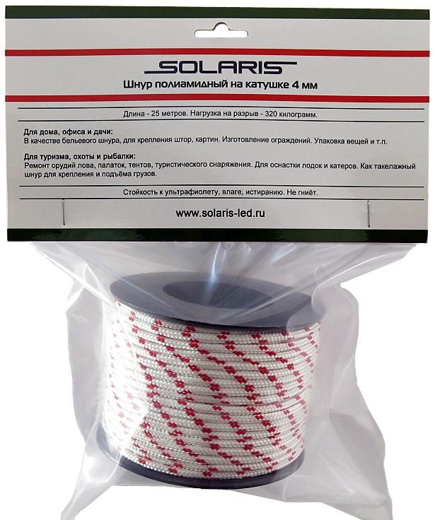 Шнур полиамидный Solaris S6304, на катушке, 4 мм х 25 м, цвет: белый, красный67744Прочный многоцелевой плетеный шнур из полиамида, выдерживает нагрузку на разрыв 320 кг. Для удобства использования шнур намотан на катушку.Шнур состоит из плотно сплетенных прядей вокруг сердечника. Благодаря такой конструкции шнур не расплетается при повреждении одной или даже нескольких прядей. Сферы применения полиамидного шнура:- Туризм, рыбалка, охота:- Ремонт орудий лова, палаток, тентов, туристического снаряжения. Применяется для оснастки лодок и катеров, развешивания рыбы для сушки. Изготовление силков, снегоступов и т.п. - Дачное и домашнее хозяйство, для офиса: - Подвязывание рассады, разметка участка, изготовление ограждений. В качестве бельевого шнура, для крепления штор, картин и т.п. Подходит для декорирования деталей интерьера. Упаковка коробок, вещей. - Такелажных работы:-Для крепления и подъема грузов.
