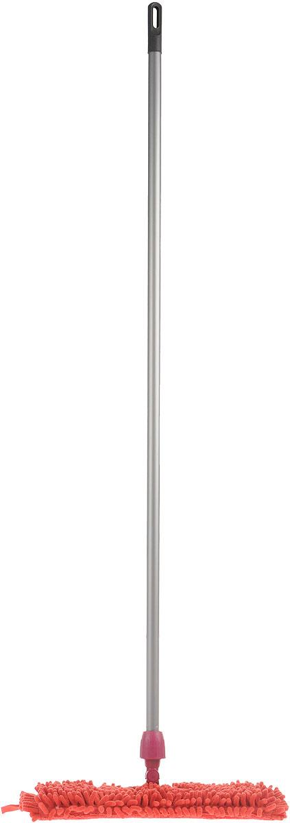 Швабра Мир чистоты Синель Дуо, двусторонняя с прорезиненной ручкой, цвет: малиновый, длина 118 смVCA-00Двусторонняя швабра Мир чистоты Синель Дуо с насадкой из микрофибры широко используется для сухой и влажной уборки любых напольных поверхностей. Благодаря уникальным свойствам микрофибры сухая насадка легко удаляет пыль и в три раза лучше впитывает влагу, чем обычный хлопок. Насадку легко снять с помощью липучек. Прорезиненная алюминиевая ручка удобно и надежно будет лежать в руке. Швабра Мир чистоты Синель Дуо - лучший помощник в доме!Длина швабры: 118 см.Размер насадки: 36 х 13 х 2 см.