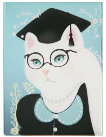 Обложка для студенческого билета Kawaii Factory Smart Kitty, цвет: голубой, черный. KW067-000008INT-06501Обложка для студенческого билета Kawaii Factory Smart Kitty выполнена из легкого и прочного ПВХ, который надежно защищает важные документы от пыли и влаги. Рисунок нанесён специальным образом и защищён от стирания. Изделие раскладывается пополам. Внутри размещены два накладных прозрачных кармашка.