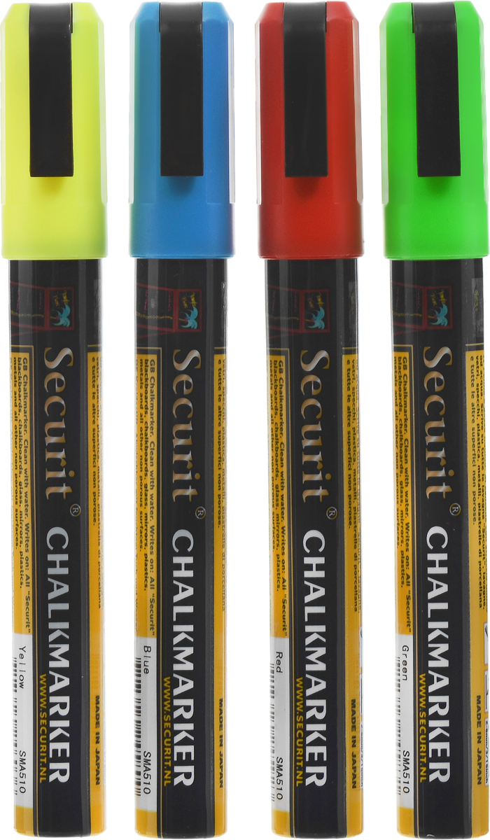 Маркеры для сообщений Securit, 4 штSMA510-V4Маркеры для сообщений Securit - это набор из 4 меловых маркеров синего, красного, зеленого и желтого цветов. Меловые маркеры позволяют наносить стираемые надписи на любые непористые поверхности - стекло, зеркала, пластик, металл или специальные покрытия и доски. Теперь вы сможете рисовать, делать заметки и отставлять послания для друзей и близких где угодно. Чтобы смыть надпись, достаточно просто протереть ее водой. Толщина линии: 2-6 мм.Длина маркера: 14,5 см.