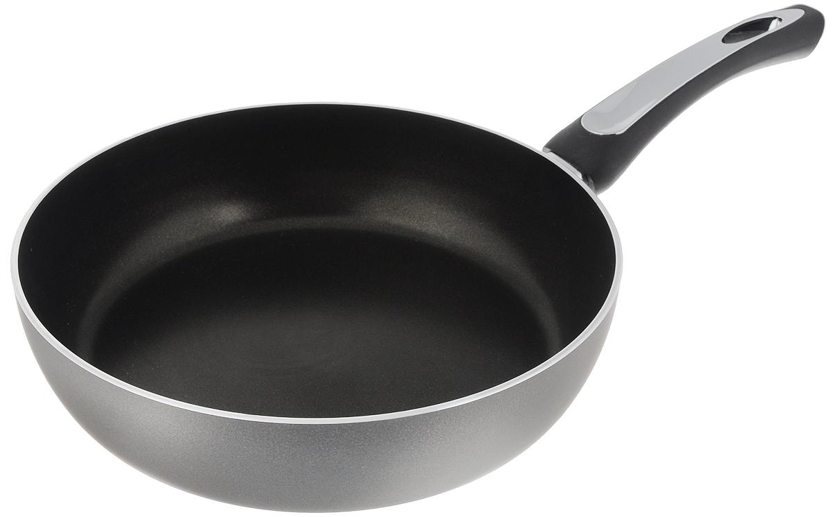 Сковорода Scovo President, с антипригарным покрытием. Диаметр 26 смFS-91909Сковорода Scovo President выполнена из алюминия и имеет антипригарное покрытие. Покрытие исключает прилипание и пригорание пищи к поверхности посуды, обеспечивает легкость мытья посуды, исключает необходимость использования большого количества масла, что способствует приготовлению здоровой пищи с пониженной калорийностью. Сковорода оснащена пластиковой ручкой, благодаря чему она удобно уместится в руке и не выскользнет.Сковорода подходит для газовых, электрических и стеклокерамических плит. Также ее можно мыть в посудомоечной машине. Диаметр сковороды: 26 см. Высота стенки: 6,7 см.
