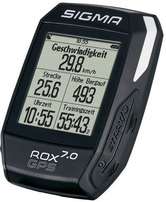 Велокомпьютер Sigma ROX 7.0 GPS, цвет: черныйRivaCase 7560 blueВелокомпьютер SIGMA ROX 7.0 GPS BLACK прост в использовании. Предустановленные профили, GPS навигация по дорожкам, барометр высоты/ ROX GPS 7.0 идеальный компаньон с высоким коэффициентом производительности.Функции скоростиТекущая скоростьСредняя скоростьКалорийность (на основе скорости)Максимальная скоростьРасстояниеФункции высотомераТекущий уровеньВысота профиляСкороподъемность в м / минСклон (в%)Навигационные функцииНаправление движенияРасстояние до пункта назначенияВид трекаПримерное время прибытияВремя до целиОсобенностиЦифровой компас 3-осевойАнализ графических данных в центрах обработки данныхПодсветкаСпортивные профилиStravaВодонепроницаемый (ipx7)Временные функцииДатаПродолжительностьТренировочное времяВремя (12/24)Функции температурыТекущая температураМаксимальная температураМинимальная температураФункции состоянияИндикация состояния батареи в %GPSДисплей1.7 full-dot matrix LCD with 160x128pxВес 61g