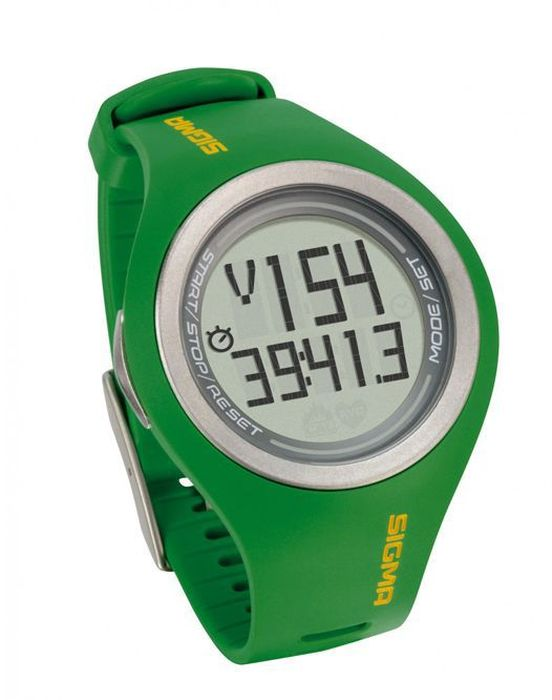 Пульсометр Sigma PC 22.13 Man, 22 функции, цвет: зеленыйSIG_22133Пульсометр (кардиомонитор, монитор сердечного ритма) представляет из себя портативное устройство определяющее ваш пульс. Современные пульсометры снабжены и многими другими полезными функциями - подбор программы индивидуальной тренировки, определение максимальной скорости, беговой индекс, определение кол-ва сожженных во время тренировки калорий и пр. Пульсометр Sigma Sport PC 22.13 Man с кодированной цифровой передачей данных.Основные функции:- Измерение частоты сердечных сокращений, соответствующее по точности ЭКГ- Подсветка экрана- Средняя частота ритма сердца- Максимальная частота ритма сердца- Цифровая кодированная передача данных- Счетчик калорий- Время тренировки в пульсовой зоне и за её пределами- Общее количество калорий- Расчет максимальной частоты ритма сердца- 3 настраиваемые вручную зоны тренировки- Звуковая и визуальная сигнализация выхода из заданной пульсовой зоны- Водонепроницаемый 30 м. (запрещено нажатие кнопок под водой и использование в морской воде)Комлектация:- Часы - пульсометр- Нагрудный передатчик + ремень к нему