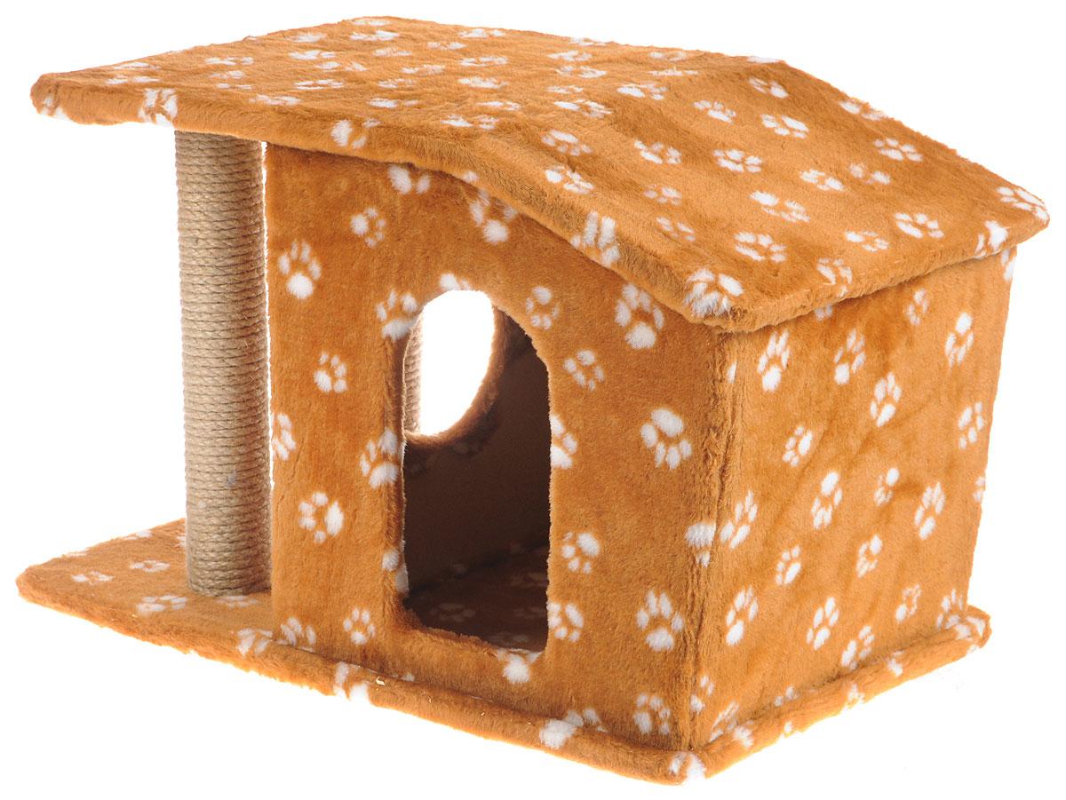 Игровой комплекс для кошек Меридиан Патриция, с домиком и когтеточкой, цвет: коричневый, белый, бежевый , 63 х 40 х 41 см0120710Игровой комплекс для кошек Меридиан Патриция выполнен из высококачественного ДВП и ДСП и обтянут искусственным мехом. Изделие предназначено для кошек. Ваш домашний питомец будет с удовольствием точить когти о специальные столбики, изготовленные из джута. А отдохнуть он сможет в оригинальном домике.