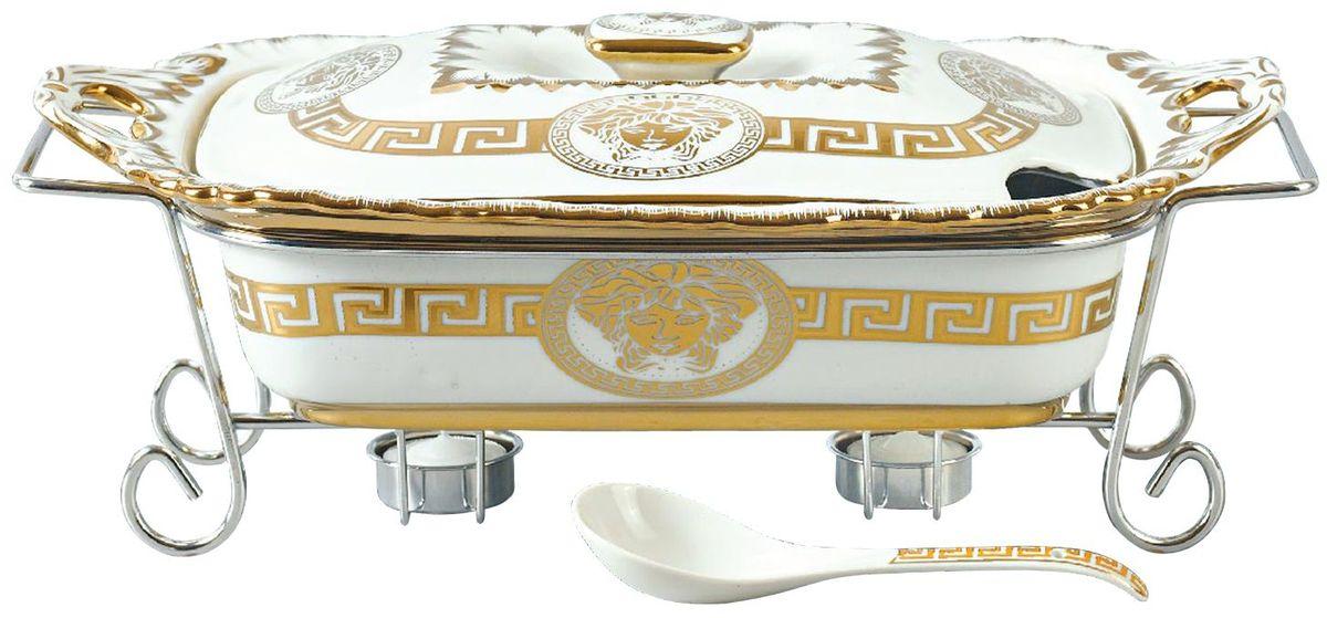 Мармит Madonna, цвет: белый, золотистый, 2,2 л. MA - 1136VT-1520(SR)Фарфоровый мармит 2,2л. Прямоугольное фарфоровое блюдо с крышкой.Подставка под 2 свечи (включены). Фарфоровая поварская ложка - 1шт.