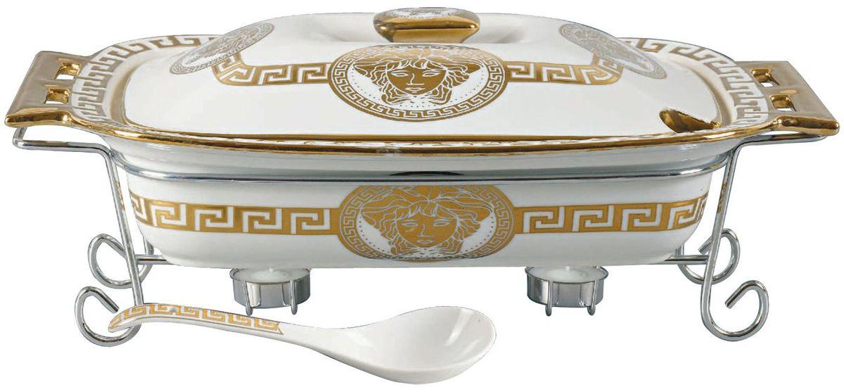 Мармит Madonna, цвет: белый, золотистый, 2,5 л. MA - 1137115510Фарфоровый мармит 2,5л. Прямоугольное фарфоровое блюдо с крышкой.Подставка под 2 свечи (включены). Фарфоровая поварская ложка - 1шт. Фарфоровое блюдо подходит для духовки, можно ставить в посудомоечную машину.Элегантный дизайн.