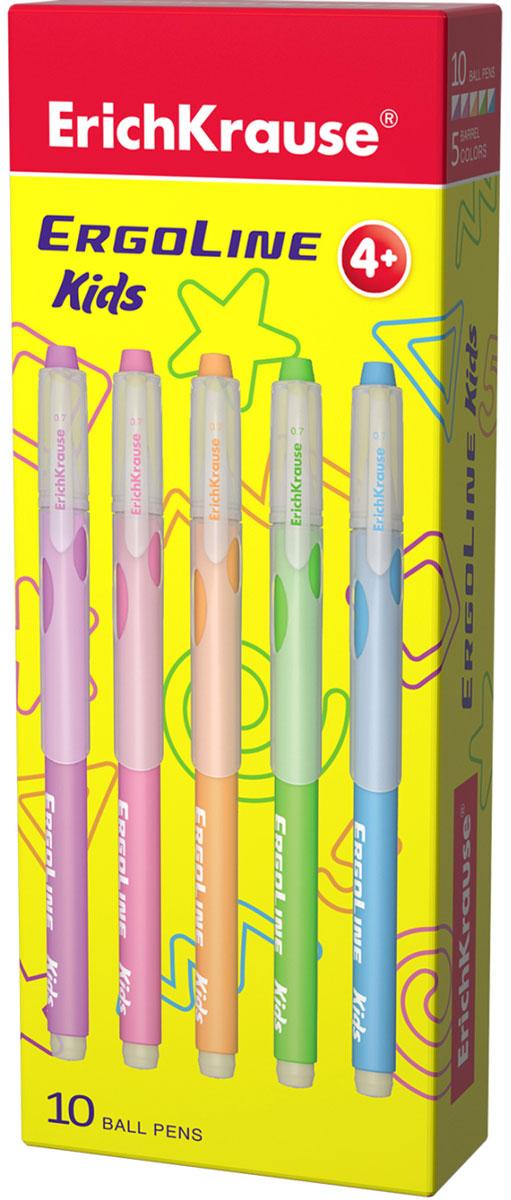 Erich Krause Набор шариковых ручек ErgoLine Kids 10 шт 41539FS-00103Набор шариковых ручек Erich Krause ErgoLine Kids станет незаменимым помощником в учебе или работе.Ручки с уникальной технологией Ultra Glide, обеспечивающей великолепное мягкое письмо, позволяют долго и легко писать практически без усилий. Треугольный корпус ручки со специальными выемками обеспечивает удобный захват и препятствует скольжению пальцев при письме. Цвет колпачка и заглушки соответствует цвету чернил. Товар предназначен для письма на бумаге.Рекомендована для дошкольников и школьников младшего возраста.Диаметр шарика 0,7 мм.