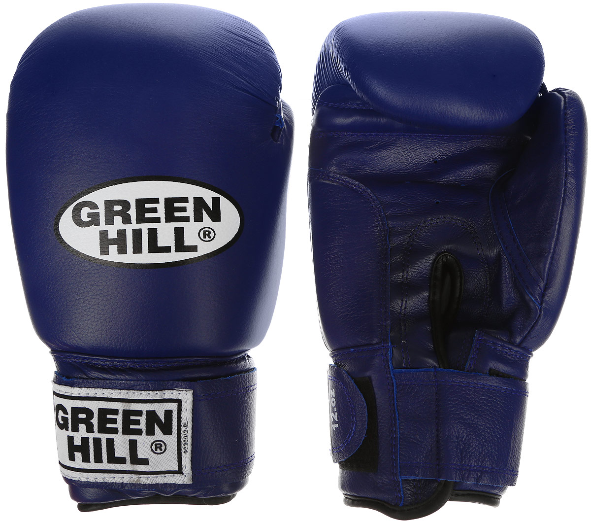 Перчатки боксерские Green Hill Super Star, цвет: синий, белый. Вес 16 унций. BGS-1213сBGPS-2012Боксерские перчатки Green Hill Super Star предназначены для использования профессионалами. Подойдут для спаррингов и соревнований. Верх выполнен из натуральной кожи, наполнитель - из вспененного полимера. Отверстие в области ладони позволяет создать максимально комфортный терморежим во время занятий. Манжет на липучке способствует быстрому и удобному надеванию перчаток, плотно фиксирует перчатки на руке.
