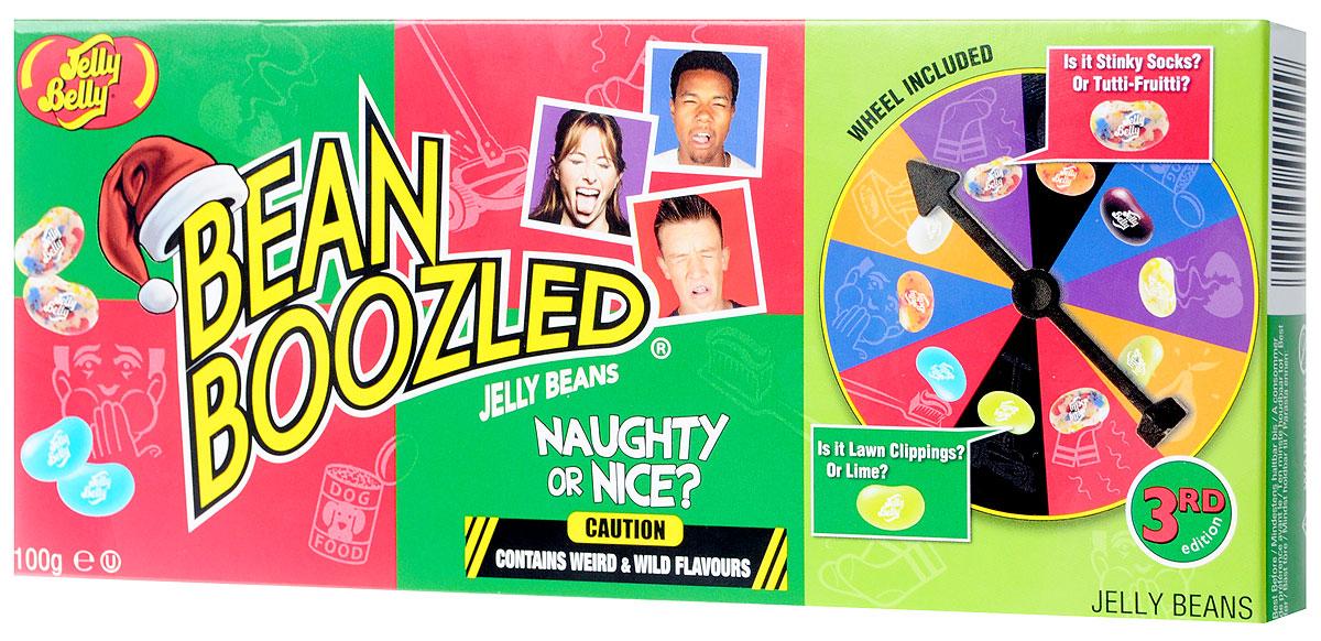 Jelly Belly Игра Bean Boozled с жевательным драже и рулеткой, 100 г0120710Bean Boozled - это русская рулетка! Коробка заполнена, как и очень вкусными конфетками, так и конфетками с очень странными вкусами. Загвоздка лишь в том, что вы не знаете, что получите, пока не попробуете.В коробке 16 вкусов, 8 из них необычайно вкусных и 8 откровенно странных. Например, вы никогда не узнаете заранее, что получите свежий лайм или газон; кокос или детский подгузник; сочный персик или рвоту.Помните, что обе конфетки одного стиля выглядят и пахнут совершенно одинаково! Например, очаровательная голубая конфетка может быть со вкусом голубики или зубной пасты, а белая конфетка с желтыми пятнами может быть со вкусом попкорна или со вкусом протухшего яйца... Незнание того, что вам достанется в очередной раз, немало заряжает адреналином!С Bean Boozled вы получаете коробку безмерного веселья с вашими друзьями. Забавно наблюдать за реакцией друзей или семьи, когда они, желая получить вкус сочной груши, медленно пережевывают боб зеленого цвета, чувствуют вкус соплей...Список вкусов: тутти-фрутти или грязные носки, лайм или свежескошенный газон, попкорн с маслом или протухшее яйцо, голубика или зубная паста, персик или рвота, шоколадный пудинг или собачий корм, сочная груша или сопли, кокос или детский подгузник.Уважаемые клиенты! Обращаем ваше внимание, что полный перечень состава продукта представлен на дополнительном изображении.