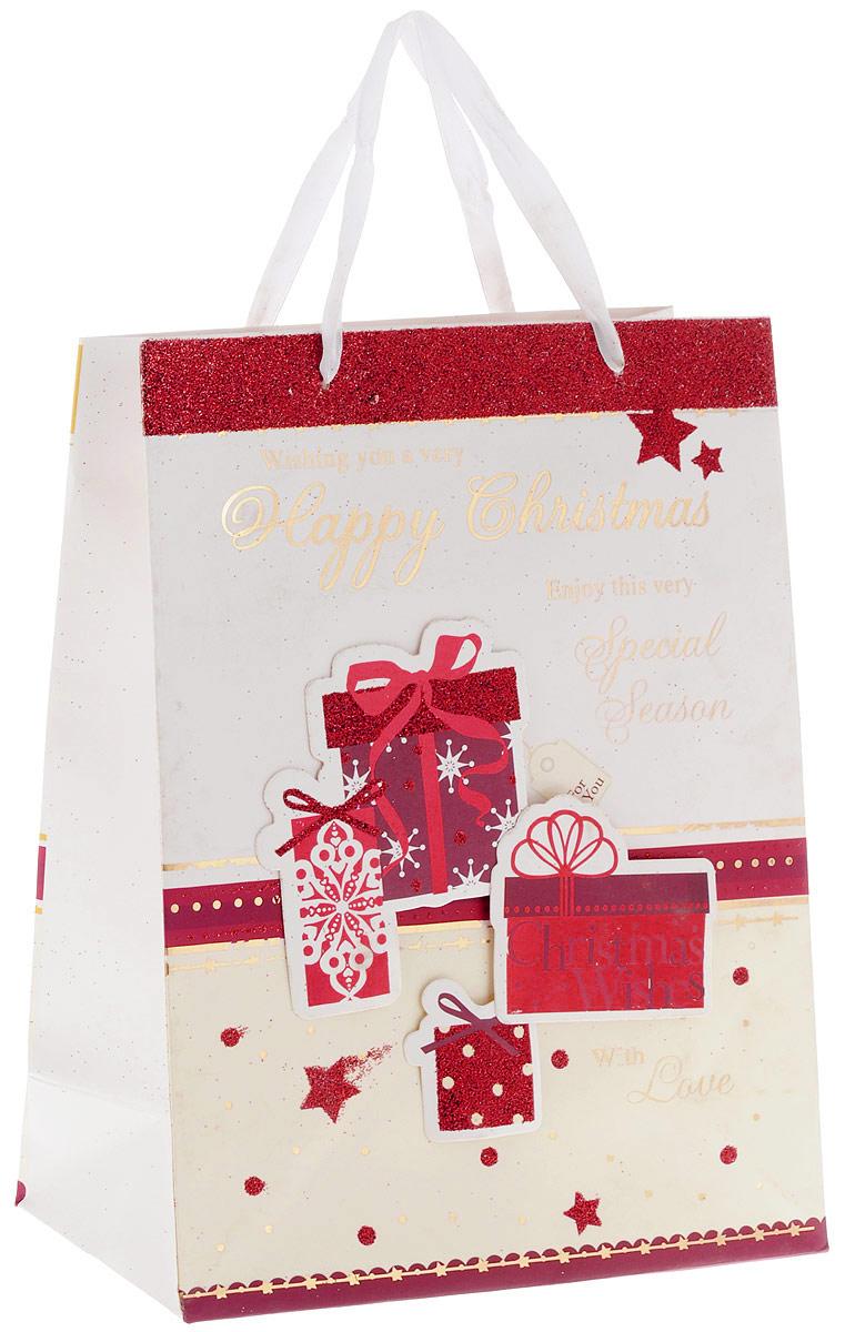 Пакет подарочный Феникс-Презент Happy Christmas, 26 х 13 х 33 смNLED-454-9W-BKПодарочный пакет Феникс-Презент Happy Christmas, изготовленный из плотной бумаги, станет незаменимым дополнением к выбранному подарку. Дно изделия укреплено картоном, который позволяет сохранить форму пакета и исключает возможность деформации дна под тяжестью подарка. Пакет украшен наклейками в виде подарочных коробок. Для удобной переноски имеются две ручки в виде атласных лент.Подарок, преподнесенный в оригинальной упаковке, всегда будет самым эффектным и запоминающимся. Окружите близких людей вниманием и заботой, вручив презент в нарядном, праздничном оформлении.