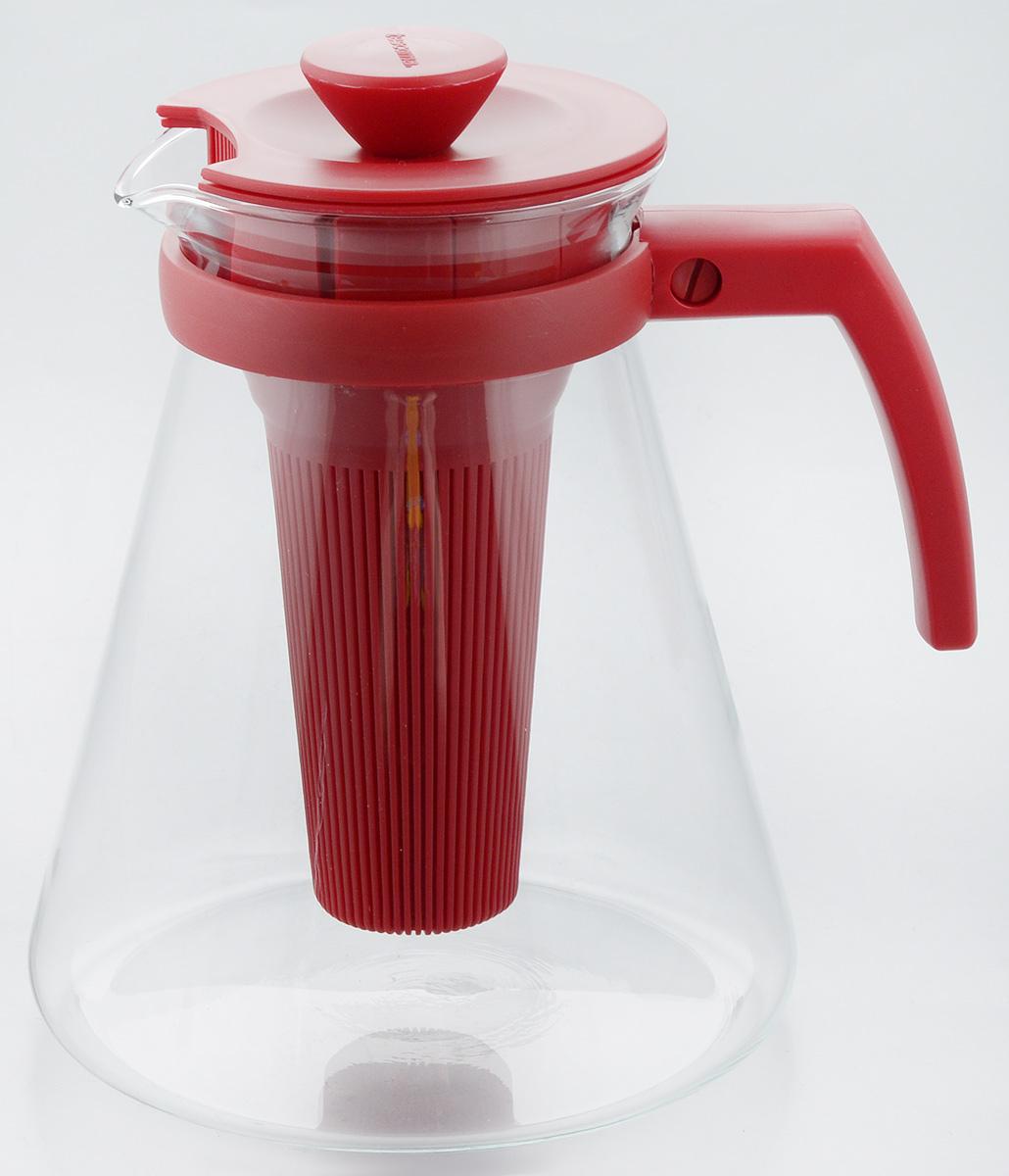 Чайник заварочный Tescoma Teo Tone, с ситечком, цвет: красный, прозрачный, 1,7 л68/5/2Чайник заварочный Tescoma Teo Tone предназначен для подготовки и сервировки всех видов чая и чайных напитков. Чайник снабжен глубоким ситечком для заваривания свежей мяты, мелиссы, имбиря, сушеного шиповника, фруктов, а также очень густым ситечком для заваривания всех видов рассыпного чая. Корпус чайника изготовлен из термостойкого боросиликатного стекла, поэтому его можно ставить на плиту. Ручка, крышка и ситечко изготовлены из прочного пластика. Чайник подходит для газовых, электрических и стеклокерамических плит, микроволновой печи. Не рекомендуется мыть в посудомоечной машине. Инструкция по использованию внутри упаковки. Диаметр (по верхнему краю): 10 см. Диаметр основания: 16 см. Высота: 18 см.