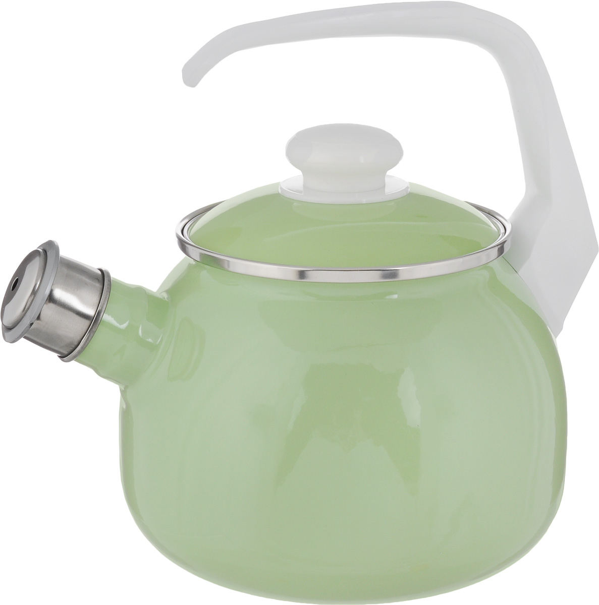 Чайник Elros Green Apple, со свистком, цвет: зеленый, 2,5 л68/5/3Чайник Elros Green Apple изготовлен из высококачественной нержавеющей стали с эмалированным покрытием. Нержавеющая сталь обладает высокой устойчивостью к коррозии, не вступает в реакцию с холодными и горячими продуктами и полностью сохраняет их вкусовые качества. Особая конструкция дна способствует высокой теплопроводности и равномерному распределению тепла. Чайник оснащен удобной ручкой. Носик чайника имеет снимающийся свисток, звуковой сигнал которого подскажет, когда закипит вода. Подходит для всех типов плит, включая индукционные. Можно мыть в посудомоечной машине.Диаметр чайника (по верхнему краю): 12,5 см.Высота чайника (без учета ручки и крышки): 13 см.Высота чайника (с учетом ручки): 23 см.