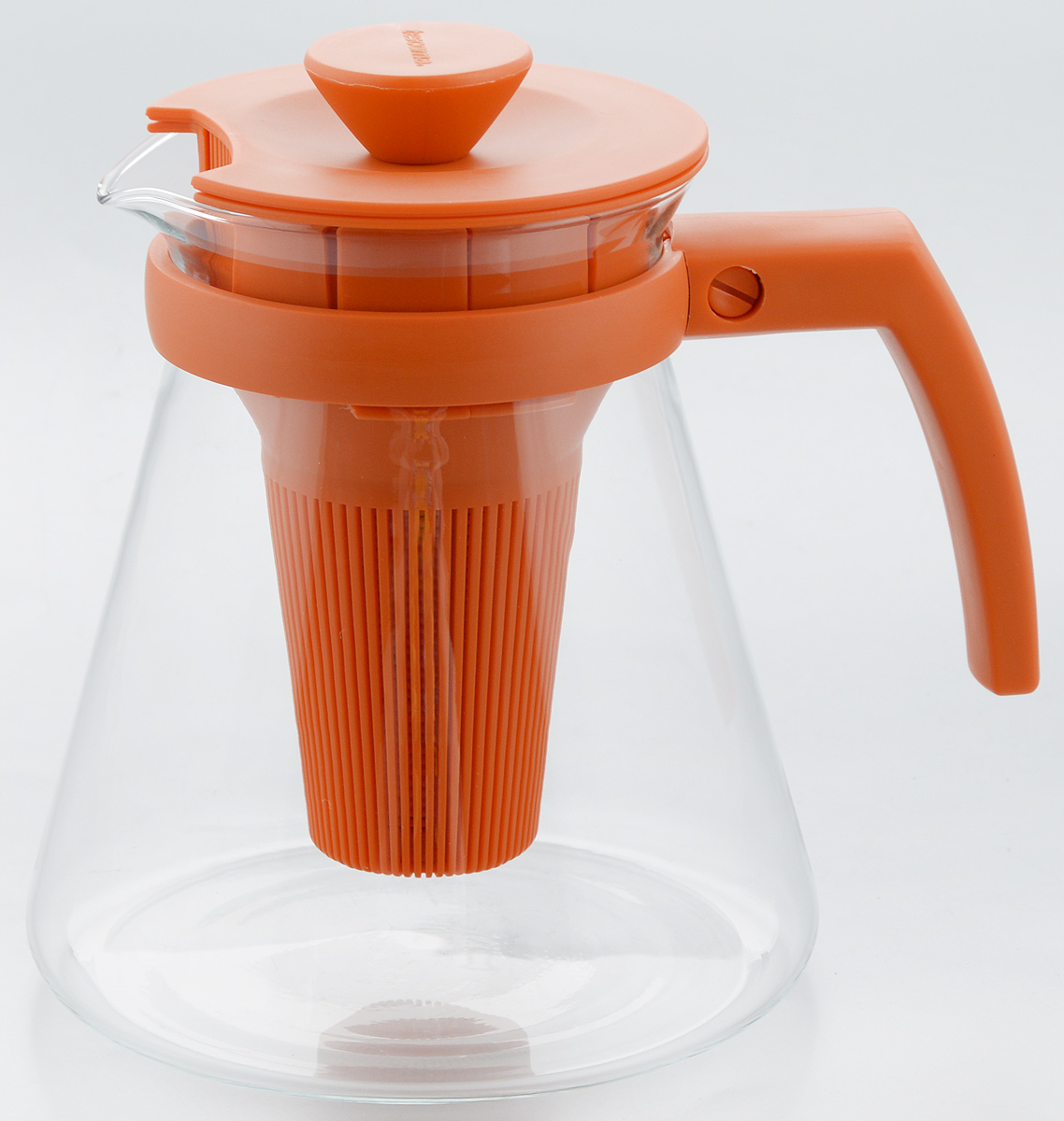 Чайник заварочный Tescoma Teo Tone, с ситечком, цвет: оранжевый, прозрачный, 1,25 л646623.17Чайник заварочный Tescoma Teo Tone предназначен для подготовки и сервировки всех видов чая и чайных напитков. Чайник снабжен глубоким ситечком для заваривания свежей мяты, мелиссы, имбиря, сушеного шиповника, фруктов, а также очень густым ситечком для заваривания всех видов рассыпного чая. Корпус чайника изготовлен из термостойкого боросиликатного стекла, поэтому его можно ставить на плиту. Ручка, крышка и ситечко изготовлены из прочного пластика. Чайник подходит для газовых, электрических и стеклокерамических плит, микроволновой печи. Не рекомендуется мыть в посудомоечной машине. Инструкция по использованию внутри упаковки. Диаметр (по верхнему краю): 10 см. Диаметр основания: 14 см. Высота: 16 см.