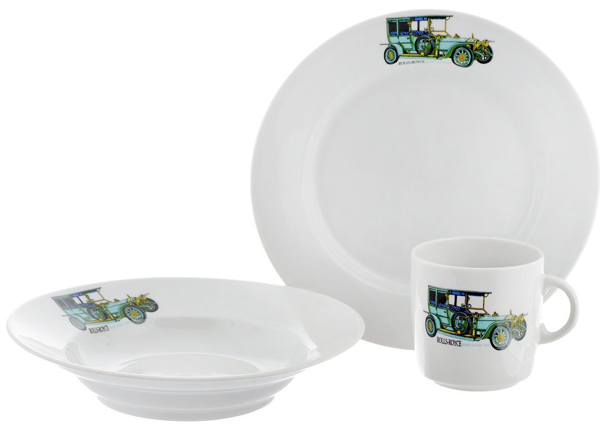 Набор детской посуды Фарфор Вербилок Машинки. Rolls-Royce, 3 предмета54 009312Набор посуды Машинки. Rolls-Royce изготовлен из высококачественного экологически чистого фарфора. В набор входят 3 предмета: кружка детская, плоская тарелка и тарелка для супа. Посуда оформлена красочными рисунками автомобиля. Набор, несомненно, привлечет внимание вашего ребенка и не позволит ему скучать. Порадуйте своего ребенка этим замечательным набором! Диаметр кружки: 7 см. Высота кружки: 7,5 см. Диаметр тарелки для супа: 19,5 см. Высота тарелки для супа: 4 см. Диаметр плоской тарелки: 20 см. Высота плоской тарелки: 2,5 см.