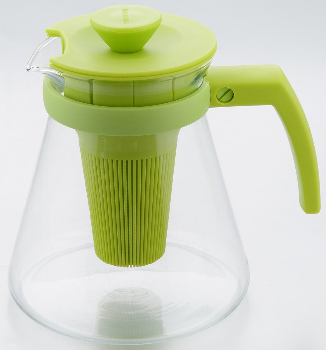 Чайник заварочный Tescoma Teo Tone, с ситечком, цвет: салатовый, прозрачный, 1,25 лVT-1520(SR)Чайник заварочный Tescoma Teo Tone предназначен для подготовки и сервировки всех видов чая и чайных напитков. Чайник снабжен глубоким ситечком для заваривания свежей мяты, мелиссы, имбиря, сушеного шиповника, фруктов, а также очень густым ситечком для заваривания всех видов рассыпного чая. Корпус чайника изготовлен из термостойкого боросиликатного стекла, поэтому его можно ставить на плиту. Ручка, крышка и ситечко изготовлены из прочного пластика. Чайник подходит для газовых, электрических и стеклокерамических плит, микроволновой печи. Не рекомендуется мыть в посудомоечной машине. Инструкция по использованию внутри упаковки. Диаметр (по верхнему краю): 10 см. Диаметр основания: 14 см. Высота: 16 см.