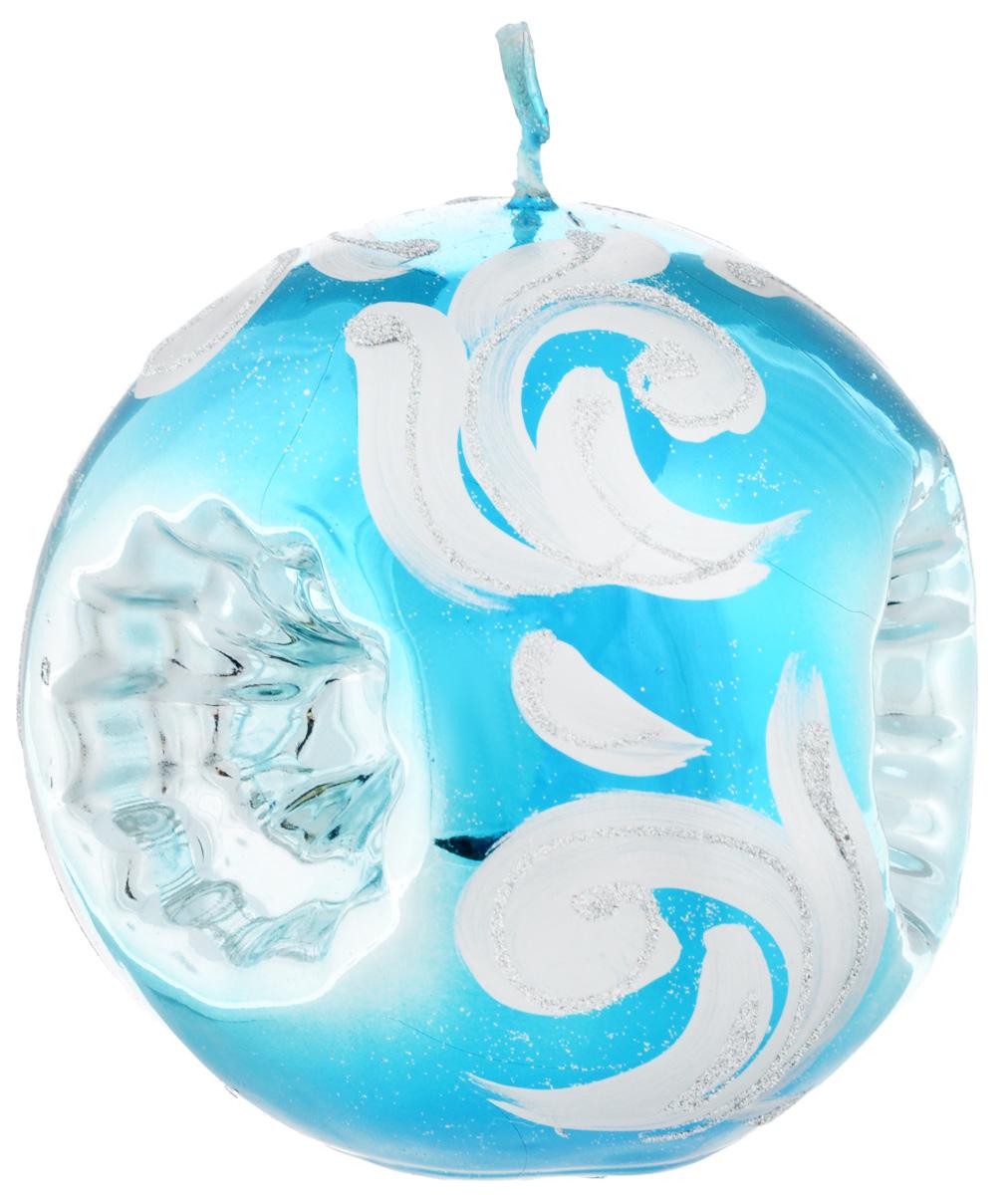 Свеча-шар Fem Рефлектор, цвет: бирюзовый, серебристый, диаметр 10 смU210DFСвеча-шар Fem Рефлектор изготовлена из парафина и декорирована изящным узором с блестками. Такая свеча станет изысканным украшением интерьера. Она принесет в ваш дом волшебство и ощущение праздника.