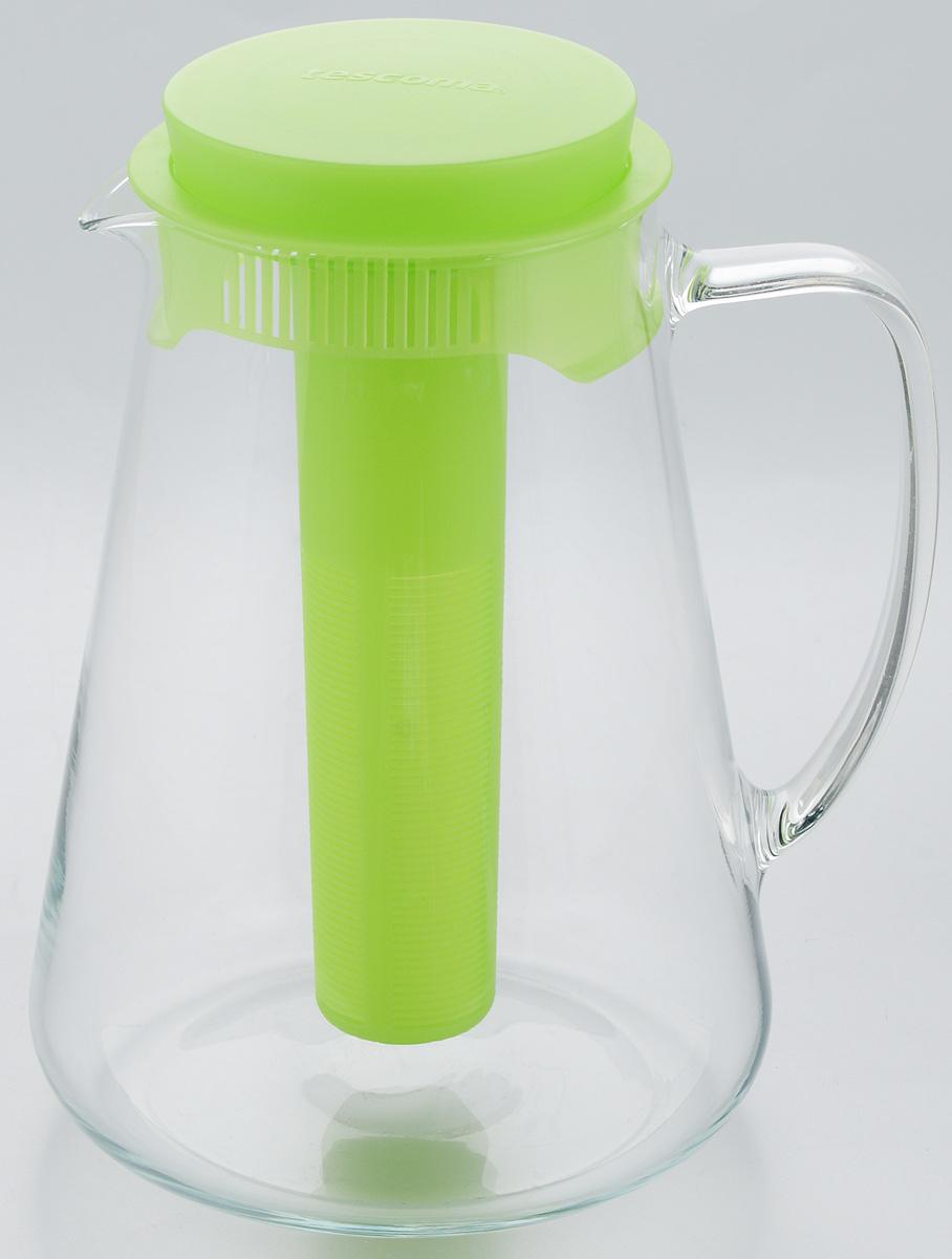 Кувшин Tescoma Teo, с крышкой, с ситечком, цвет: прозрачный, зеленый, 2,5 л646628.25Кувшин Tescoma Teo, выполненный из высококачественного прочного стекла, элегантно украсит ваш стол. Кувшин оснащен удобной ручкой, пластиковой крышкой, ситечком для настаивания чая и трав, а также охлаждающей части. Он прост в использовании, достаточно наклонить его и налить ваш любимый напиток. Форма крышки обеспечивает наливание жидкости без расплескивания. Изделие прекрасно подойдет для холодильника и для подачи на стол воды, сока, компота и других напитков, как горячих, так и холодных. Кувшин Tescoma Teo дополнит интерьер вашей кухни и станет замечательным подарком к любому празднику.Можно мыть в посудомоечной машине и использовать на газовых, стеклокерамических и электрических плитах.Диаметр (по верхнему краю): 11 см.Диаметр (по нижнему краю): 16 см.Высота кувшина (с учетом крышки): 24 см.Высота ситечка: 19,5 см.