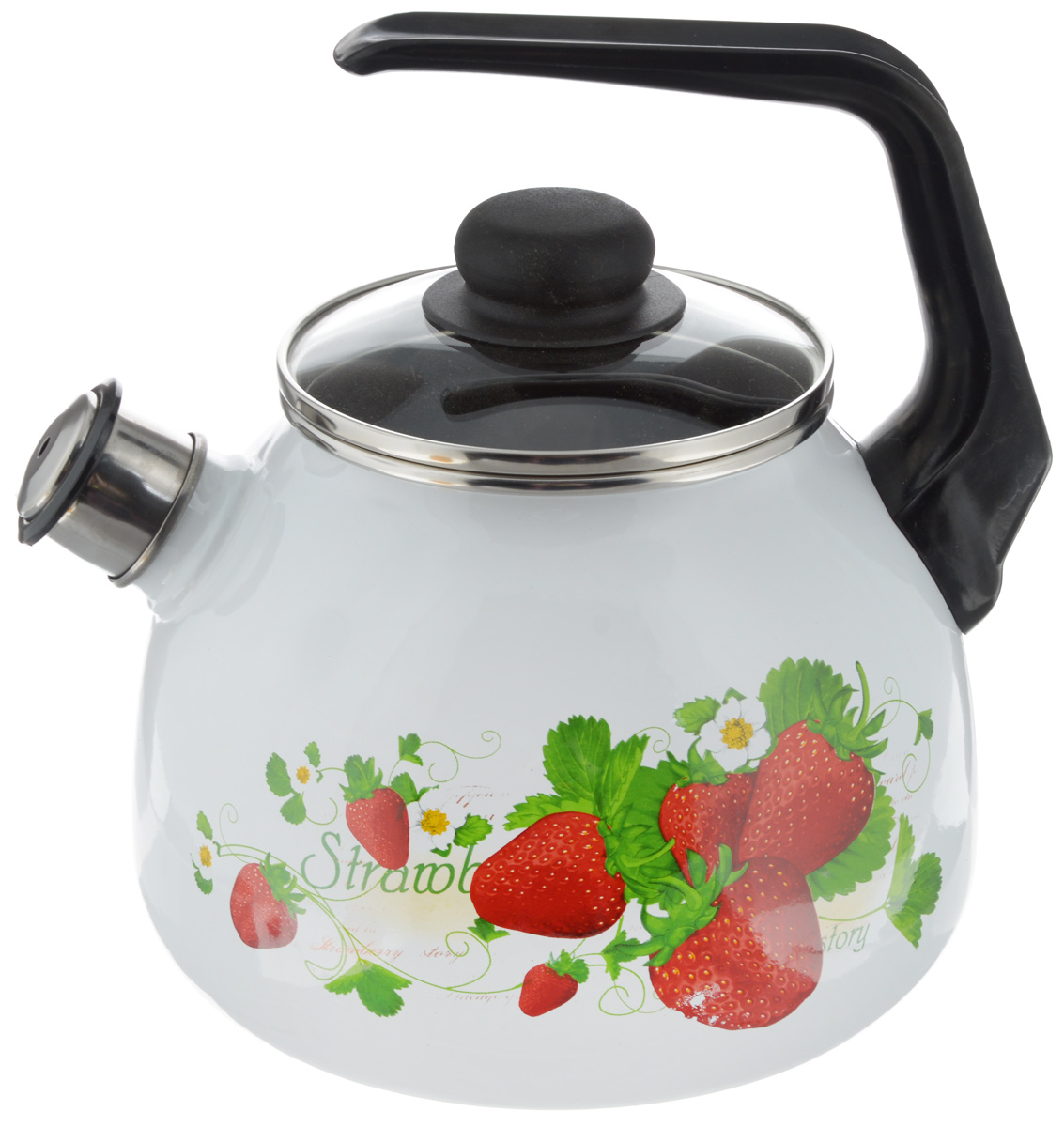 Чайник Vitross Strawberry, со свистком, цвет: белый, красный, 3 л54 009312Чайник Vitross Strawberry изготовлен из высококачественной нержавеющей стали с эмалированным покрытием. Нержавеющая сталь обладает высокой устойчивостью к коррозии, не вступает в реакцию с холодными и горячими продуктами и полностью сохраняет их вкусовые качества. Особая конструкция дна способствует высокой теплопроводности и равномерному распределению тепла. Чайник оснащен удобной ручкой. Носик чайника имеет снимающийся свисток, звуковой сигнал которого подскажет, когда закипит вода. Подходит для всех типов плит, включая индукционные. Можно мыть в посудомоечной машине.Диаметр чайника (по верхнему краю): 12,5 см.Высота чайника (без учета ручки и крышки): 15 см.Высота чайника (с учетом ручки): 23 см.