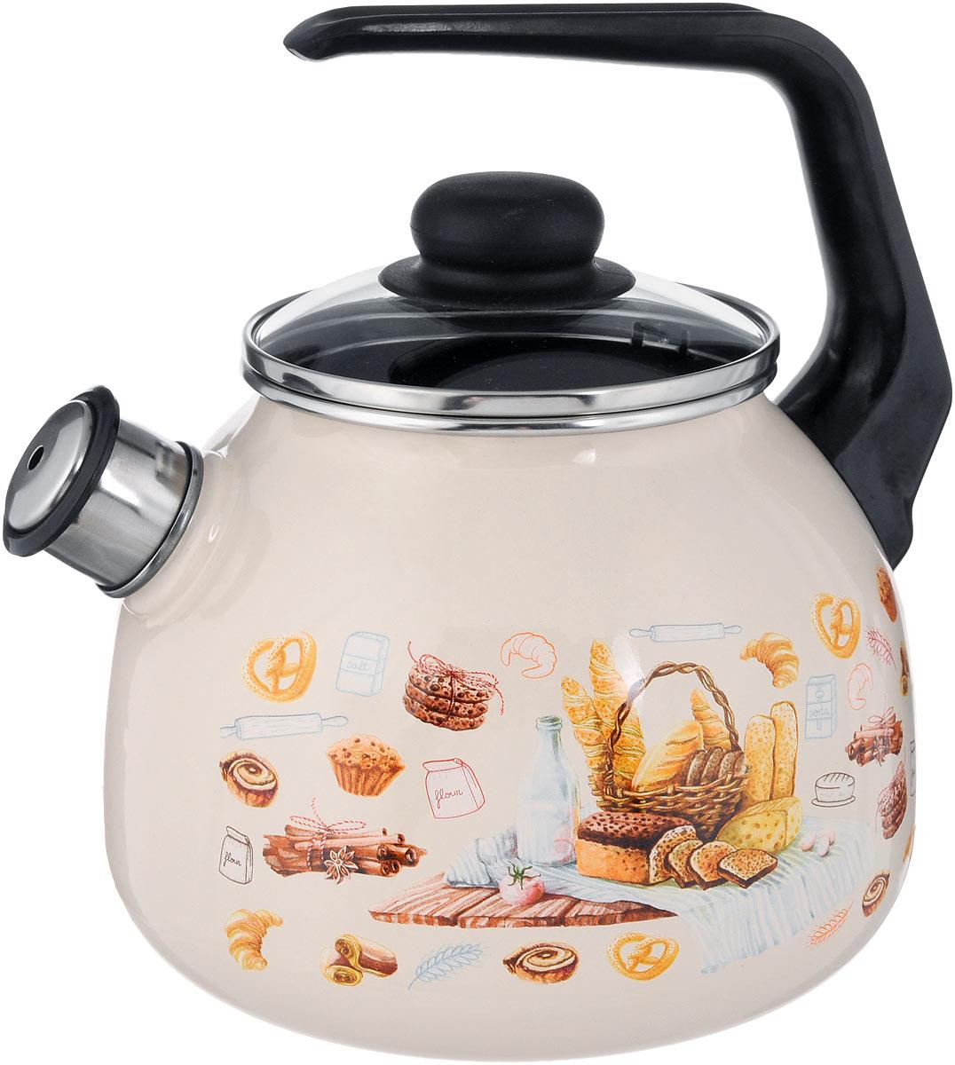 Чайник эмалированный СтальЭмаль Хлеб, со свистком, 3 л115510Чайник СтальЭмаль Хлеб выполнен из высококачественного стального проката, покрытого двумя слоями жаропрочной эмали. Такое покрытие защищает сталь от коррозии, придает посуде гладкую стекловидную поверхность и надежно защищает от кислот и щелочей. Носик чайника оснащен свистком, звуковой сигнал которого подскажет, когда закипит вода. Чайник оснащен фиксированной ручкой из пластика и стеклянной крышкой, которая плотно прилегает к краю благодаря особой конструкции. Внешние стенки декорированы красочным изображением различных хлебобулочных изделий. Эстетичный и функциональный чайник будет оригинально смотреться в любом интерьере. Подходит для всех типов плит, включая индукционные. Можно мыть в посудомоечной машине. Диаметр (по верхнему краю): 12,5 см.Высота чайника (с учетом ручки): 24 см.Высота чайника (без учета ручки и крышки): 15 см.