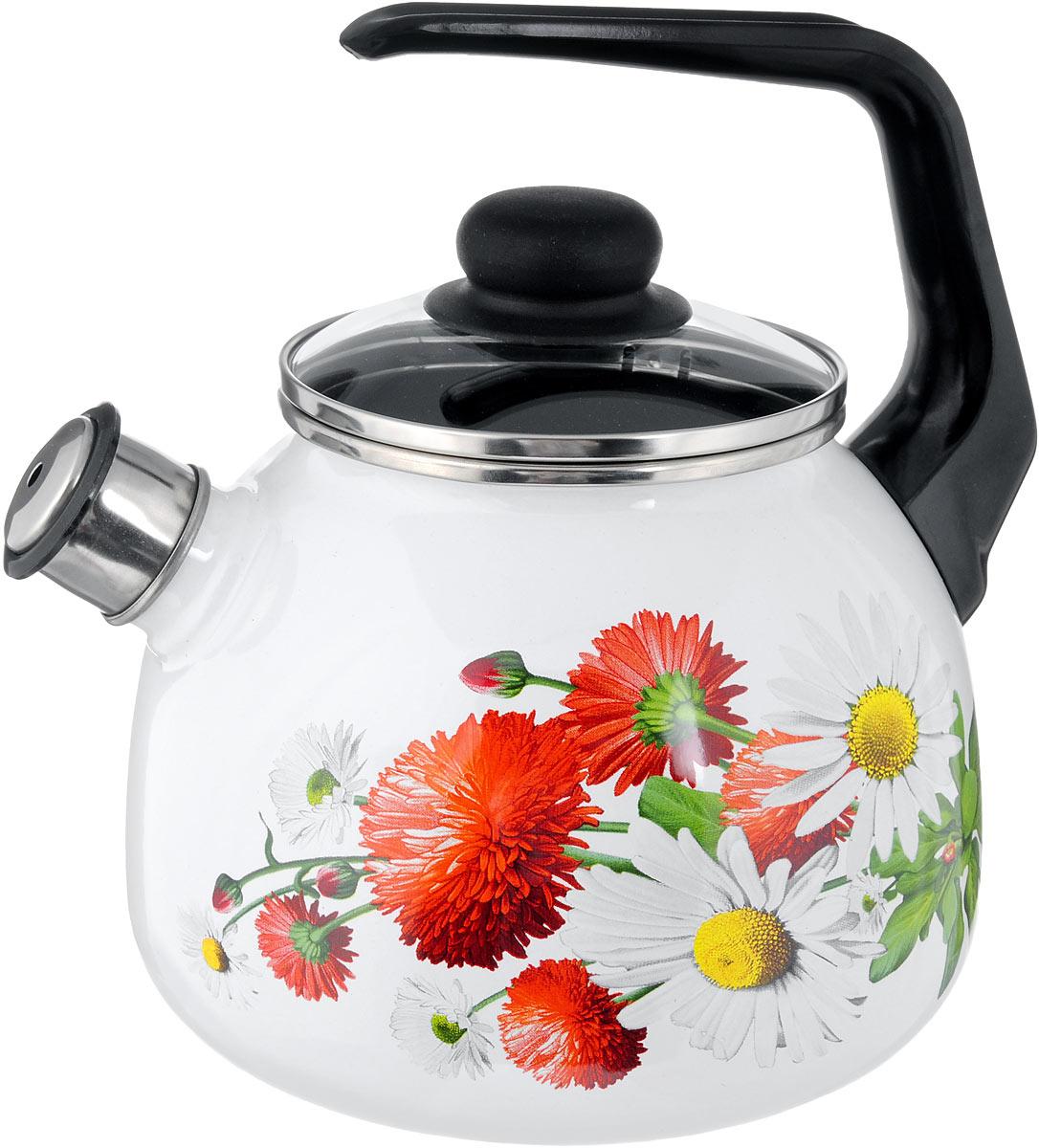 Чайник эмалированный СтальЭмаль Маргаритки, со свистком, 3 лVT-1520(SR)Чайник СтальЭмаль Маргаритки выполнен из высококачественного стального проката, покрытого двумя слоями жаропрочной эмали. Такое покрытие защищает сталь от коррозии, придает посуде гладкую стекловидную поверхность и надежно защищает от кислот и щелочей. Носик чайника оснащен свистком, звуковой сигнал которого подскажет, когда закипит вода. Чайник оснащен фиксированной ручкой из пластика и стеклянной крышкой, которая плотно прилегает к краю благодаря особой конструкции.Эстетичный и функциональный чайник будет оригинально смотреться в любом интерьере. Подходит для всех типов плит, включая индукционные. Можно мыть в посудомоечной машине. Диаметр (по верхнему краю): 12,5 см.Высота чайника (с учетом ручки): 24 см.Высота чайника (без учета ручки и крышки): 15 см.