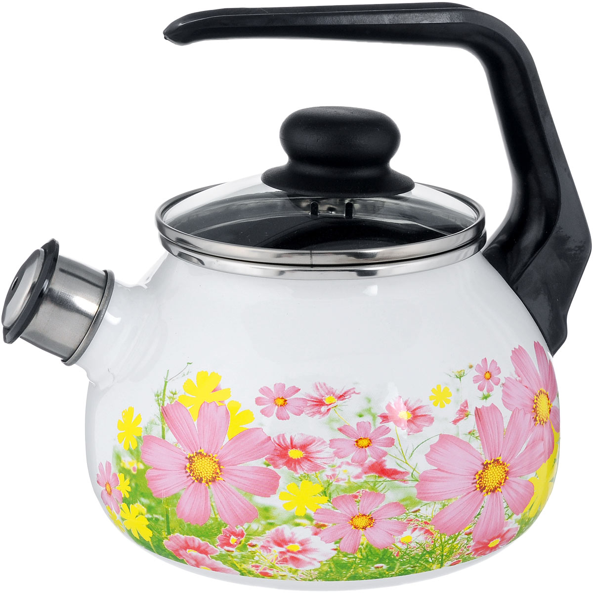 Чайник эмалированный Vitross Verano, со свистком, 2 л391602Чайник эмалированный Vitross Verano изготовлен из высококачественного стального проката со стеклокерамическим эмалевым покрытием. Корпус оформлен красочным цветочным рисунком. Стеклокерамика инертна и устойчива к пищевым кислотам, не вступает во взаимодействие с продуктами и не искажает их вкусовые качества. Прочный стальной корпус обеспечивает эффективную тепловую обработку пищевых продуктов и не деформируется в процессе эксплуатации.Чайник оснащен удобной пластиковой ручкой черного цвета. Крышка чайника выполнена из стекла. Носик чайника с насадкой-свистком позволит вам контролировать процесс подогрева или кипячения воды. Чайник пригоден для использования на всех видах плит, включая индукционные. Можно мыть в посудомоечной машине. Диаметр (по верхнему краю): 12,5 см.Высота чайника (с учетом ручки): 21 см.Высота чайника (без учета ручки и крышки): 12,5 см.