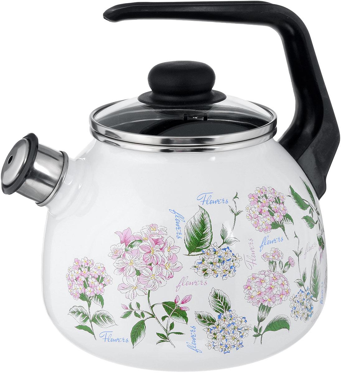 Чайник эмалированный Vitross Buket, со свистком, 2 л115510Чайник эмалированный Vitross Buket изготовлен из высококачественного стального проката со стеклокерамическим эмалевым покрытием. Корпус оформлен изящным цветочным рисунком. Стеклокерамика инертна и устойчива к пищевым кислотам, не вступает во взаимодействие с продуктами и не искажает их вкусовые качества. Прочный стальной корпус обеспечивает эффективную тепловую обработку пищевых продуктов и не деформируется в процессе эксплуатации.Чайник оснащен удобной пластиковой ручкой черного цвета. Крышка чайника выполнена из стекла. Носик чайника с насадкой-свистком позволит вам контролировать процесс подогрева или кипячения воды. Чайник пригоден для использования на всех видах плит, включая индукционные. Можно мыть в посудомоечной машине. Диаметр (по верхнему краю): 12,5 см.Высота чайника (с учетом ручки): 21 см.Высота чайника (без учета ручки и крышки): 12,5 см.