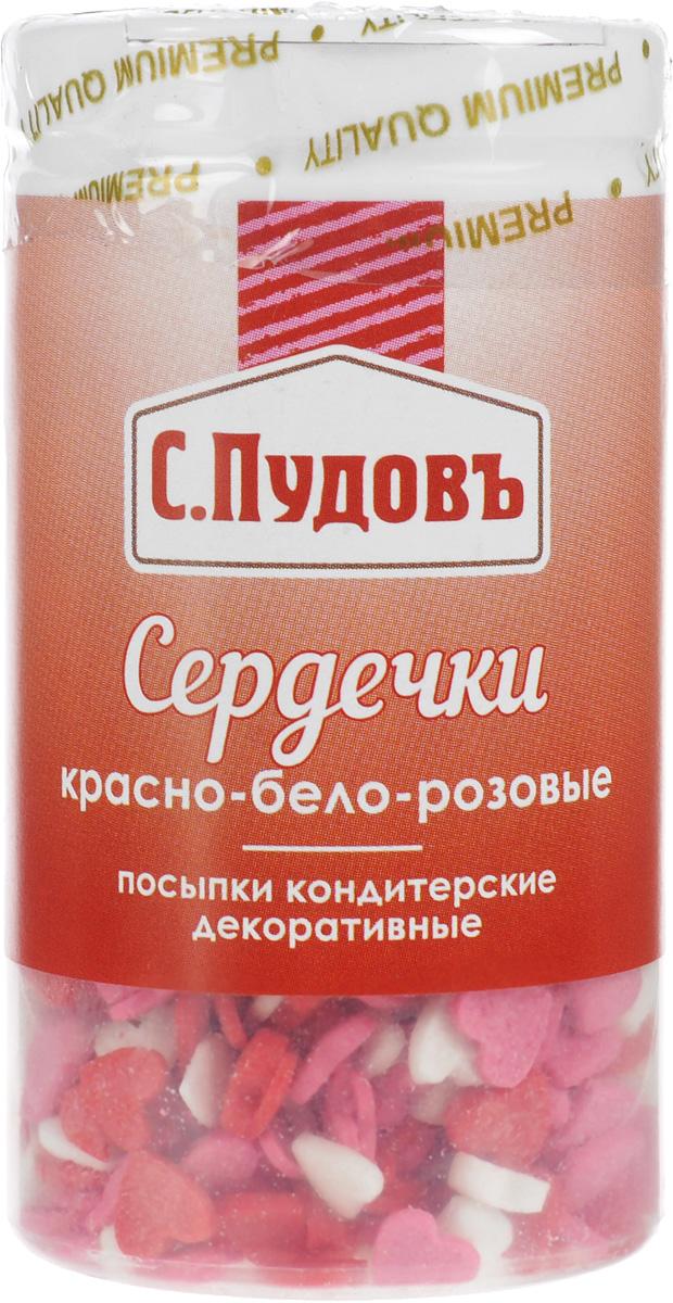Пудовъ посыпки сердечки красно бело розовые мини, 45 г