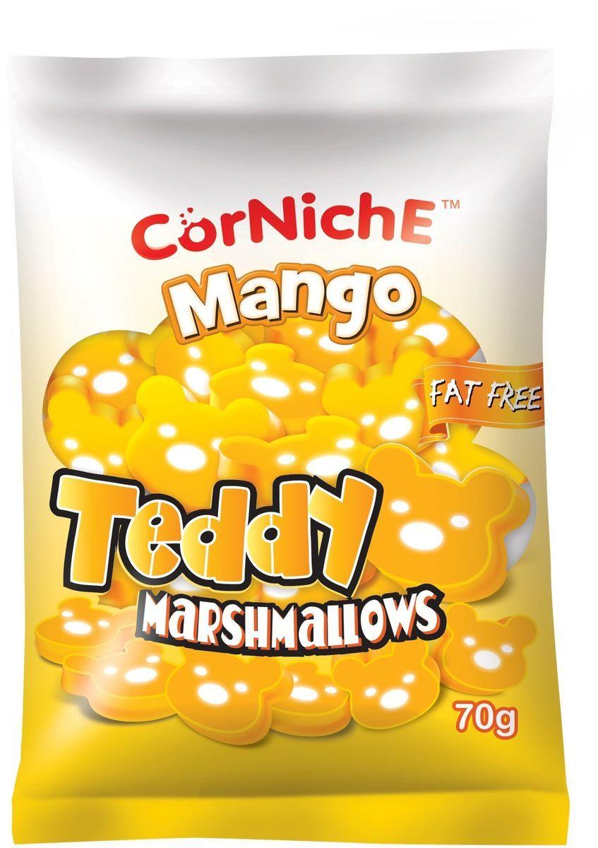 Corniche Marshmallows тедди манго, 70 г0120710Маршмелоу Тедди - это симпатичные медвежата с нежным вкусом яблока, которые очень нравятся детям. Могут быть самостоятельным лакомством или выступить в роли дополнения к освежающему напитку, фруктовому салату или мороженому. Отлично подойдут для создания настроения на детской вечеринке или утреннике в детском саду.