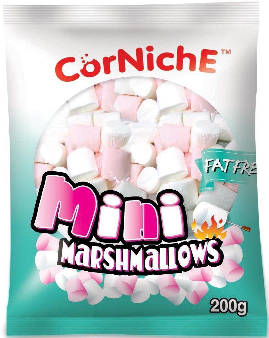 Corniche Marshmallows мини pink+white, 200 г4640000272265Маршмелоу Мини - это те самые бело-розовые, нарядные и аппетитные пушинки, которые плавают в чашке с ароматным кофе, шоколадом или какао. Желанный десерт в любой компании!