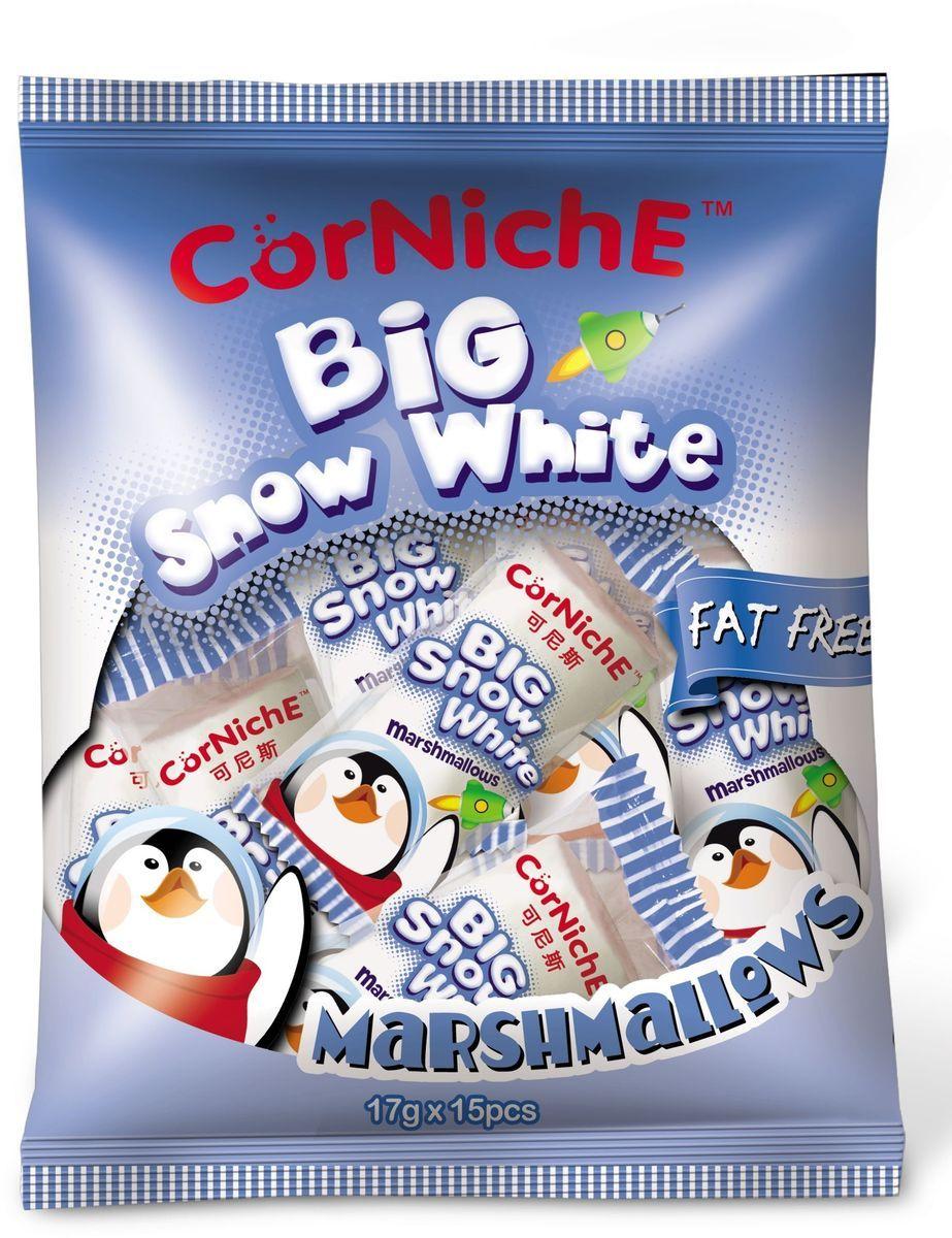 Corniche Marshmallows большой снежок, 255 г0120710Поедем на пикник, будем жарить зефир на костре - эта загадочная фраза именно о маршмеллоу – воздушном жевательном зефире, который можно растапливать на огне и в горячем кофе/какао/шоколаде. Кусочек мягкого, ароматного зефира имеет такую форму, чтобы ее было удобно надеть на палочку и протянуть к огню. Снаружи у него образуется тонкая корочка, а внутри бушует маленькое море растопленного зефира. Как использовать - для пикников и вечерних посиделок у костра, в качестве топпинга к мороженому, пудингу, фруктовым салатам. Как ароматная добавка к кофе, какао, горячему шоколаду, для приготовления домашней мастики и украшения тортов.