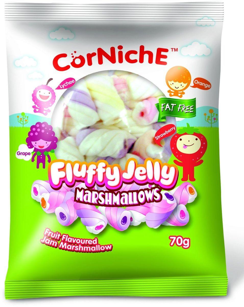 Corniche Marshmallows воздушное желе, 70 г0120710Воздушное желе - это нежные конфетки из маршмелоу с мармеладом внутри, выполненные в виде задорных спиралек, со вкусом апельсина, клубники и винограда. Сладость для праздника и праздник для всех сластен.