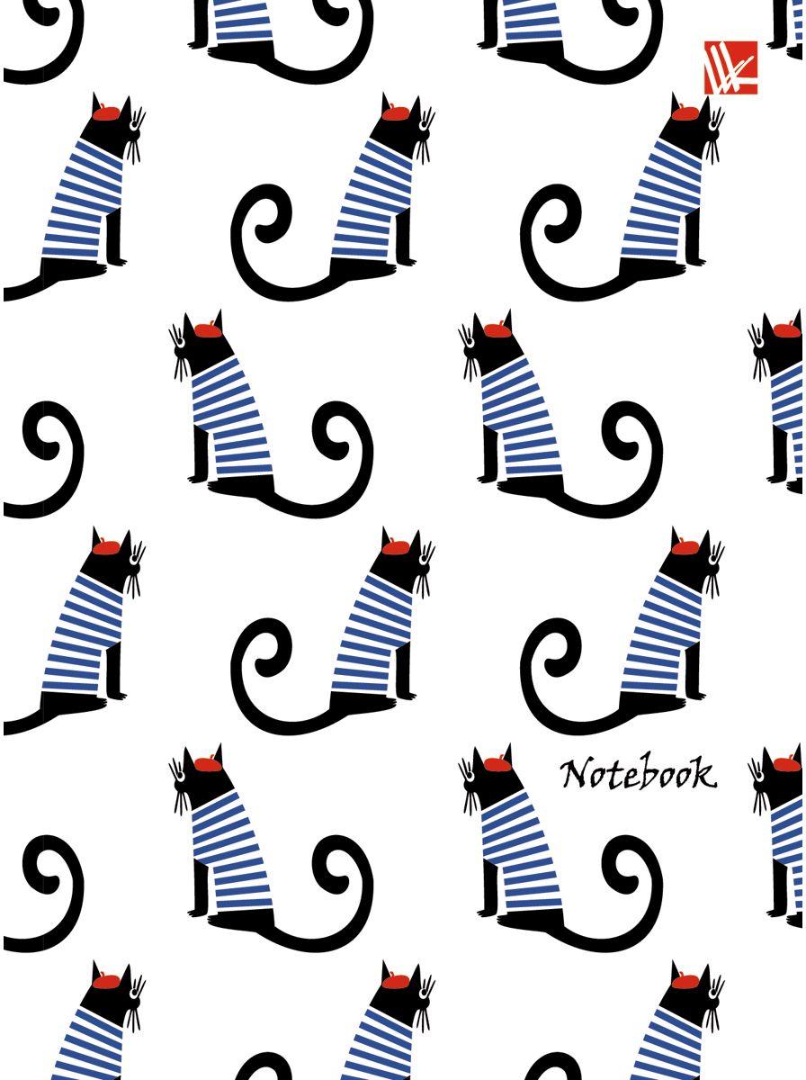 Канц-Эксмо Записная книжка Графика Коты в тельняшках 64 листа в клетку канц эксмо записная книжка орнамент розовые пионы 64 листа в клетку