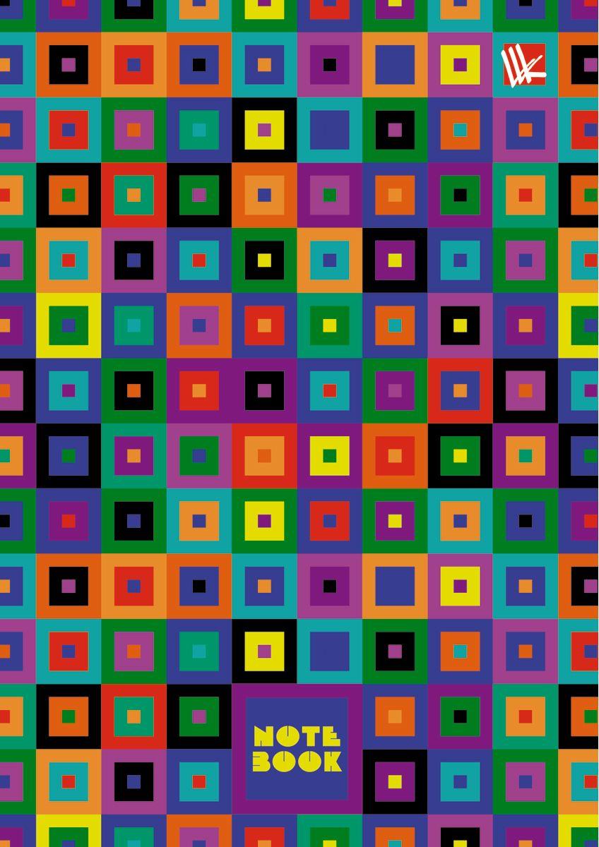 Канц-Эксмо Записная книжка Орнамент Разноцветные квадраты 64 листа в клетку канц эксмо записная книжка орнамент розовые пионы 64 листа в клетку