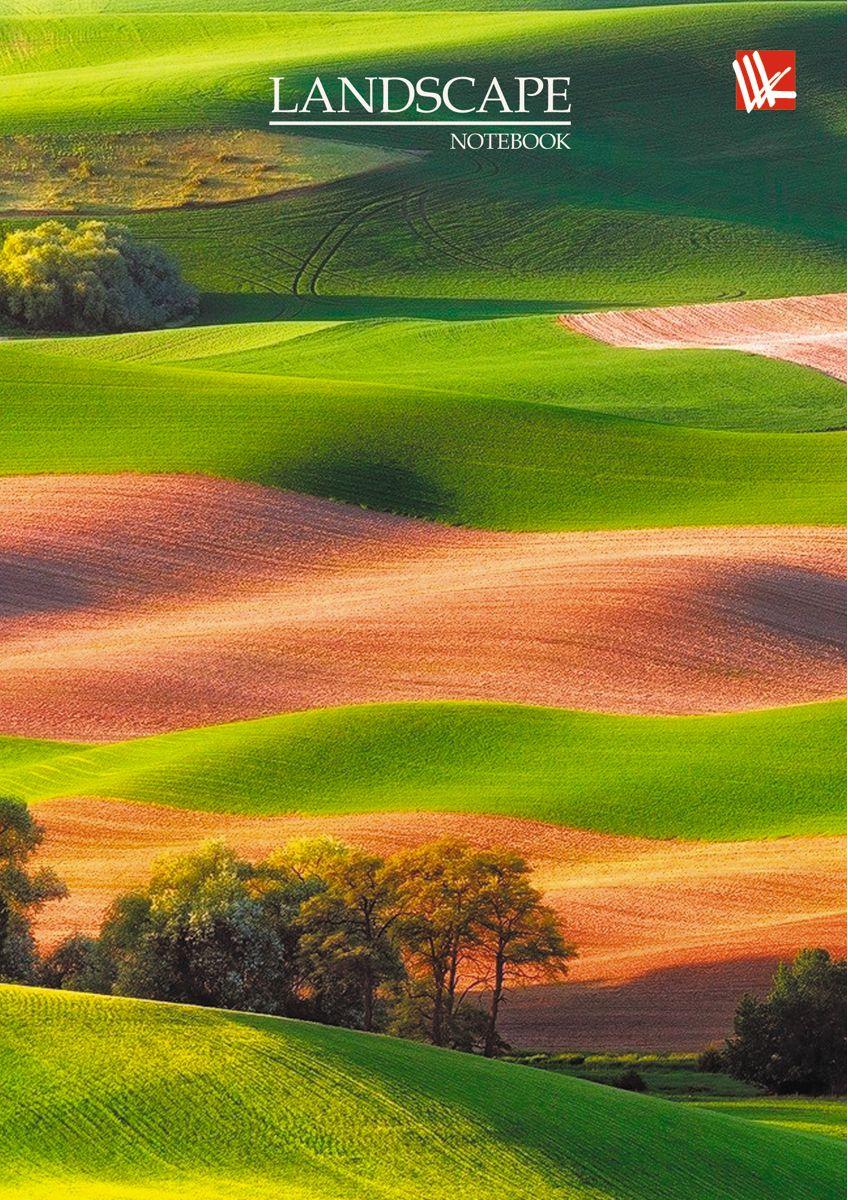 Канц-Эксмо Записная книжка Пейзаж Зеленые поля 64 листа в клетку канц эксмо записная книжка орнамент розовые пионы 64 листа в клетку
