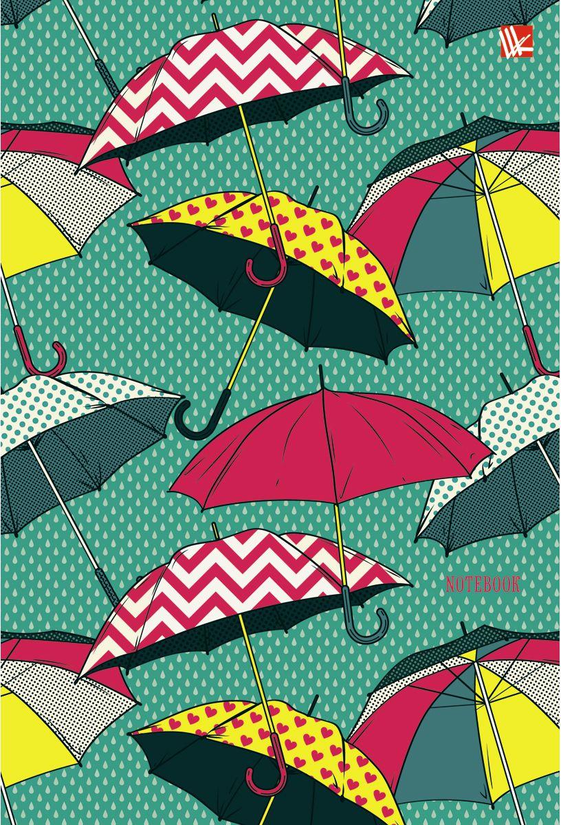 Канц-Эксмо Записная книжка Орнамент Разноцветные зонтики 80 листов в клетку72523WDЗаписная книжка в твердом переплете с поролоном А5- (132х186), 80 листов. Обложка с матовой ламинацией, выборочным лакированием и блестками. Форзацы цветные. Бумага – офсет 70 г/м2, белая, клетка. Сшитый блок.