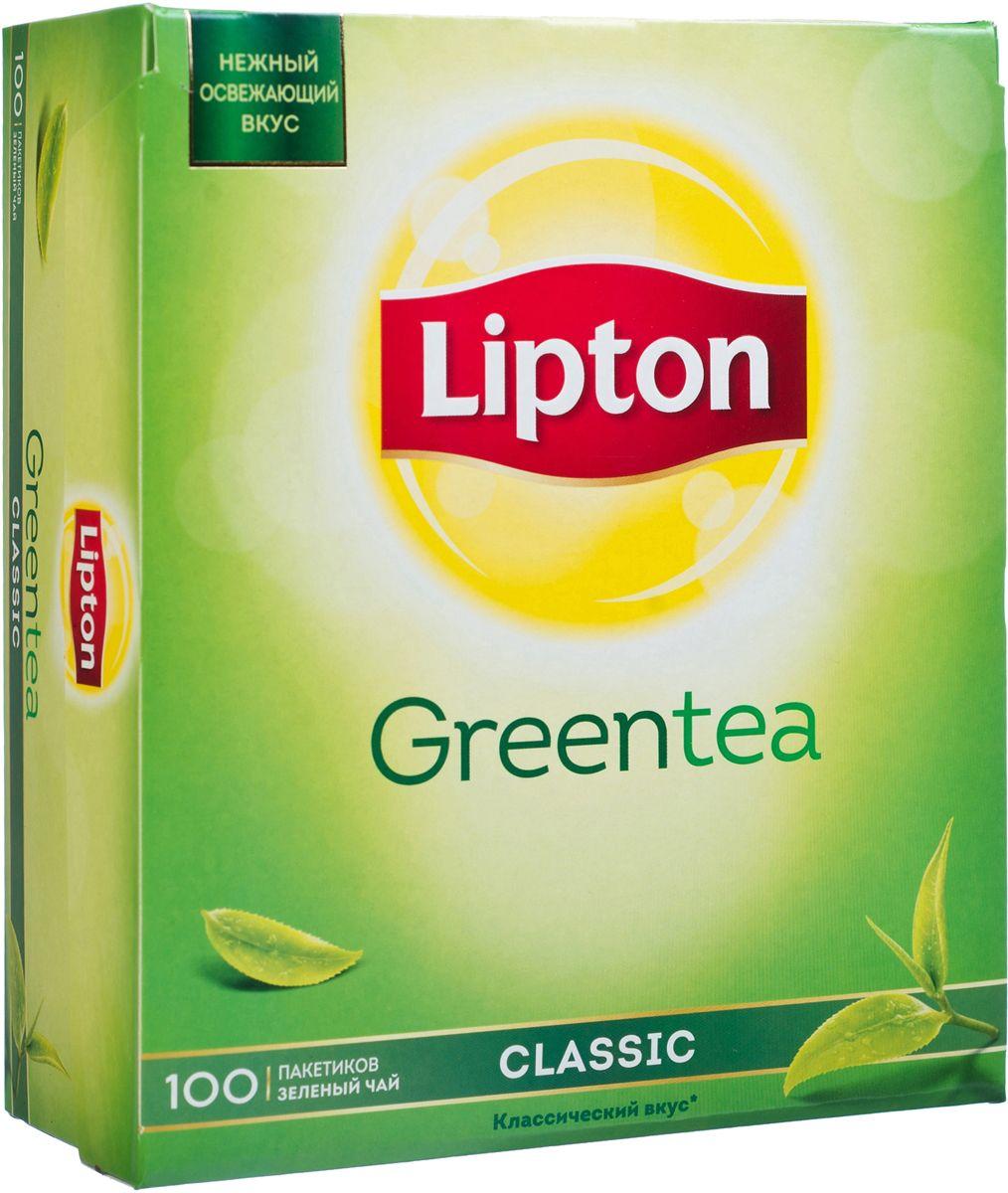 Lipton Зеленый чай Classic 100 шт0120710Нежный и освежающий вкус классического зеленого чая Lipton Green Classic наполняет уравновешенностью и проясняет взгляд на окружающий мир. Молодые чайные листочки, выращенные под теплыми лучами солнца, дарят зеленому чаю Lipton нежный вкус и легкий изысканный аромат, чтобы вы могли насладиться любимым чаем.