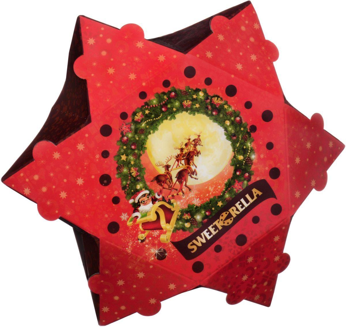 Sweeterella ассорти рождественская звездочка, 125 г0120710Миниатюрная коробочка в форме звезды с различными сладостями! Такая коробочка станет как идеальным дополнением к подарку, так и самим презентом! Состав: Ассорти сладостей: - Суфле глазированное шоколадной глазурью со вкусами Ваниль, Банан, Лесные ягоды, Апельсин; - Конфеты, глазированные шоколадной глазурью с сахарно-помадной начинкой со вкусами Йогурт, Тутти-Фрутти, Дыня