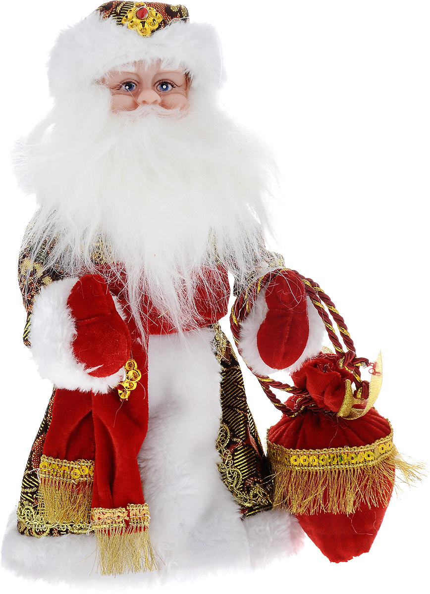 Фигурка новогодняя Winter Wings Дед Мороз, музыкальная, цвет: красный, золотой, высота 30 смRSP-202SДекоративная музыкальная фигурка Winter Wings Дед Мороз изготовлена из пластика, полиэстера и ткани. Она подойдет для оформления новогоднего интерьера и принесет с собой атмосферу радости и веселья. Дед Мороз одет в длинную шубу с красивыми узорами, подвязанную ремешком с кисточками. На голове - шапка с мехом, на ногах - черные башмачки. В руках он держит посох и мешок с подарками. Его добрый вид и очаровательная густая, белая борода притягивают к себе восторженные взгляды.Новогодние украшения всегда несут в себе волшебство и красоту праздника. Создайте в своем доме атмосферу тепла, веселья и радости, украшая его всей семьей.Высота фигурки: 30 см.Фигурка работает от 3 батареек типа АА (батарейки в комплект не входят).