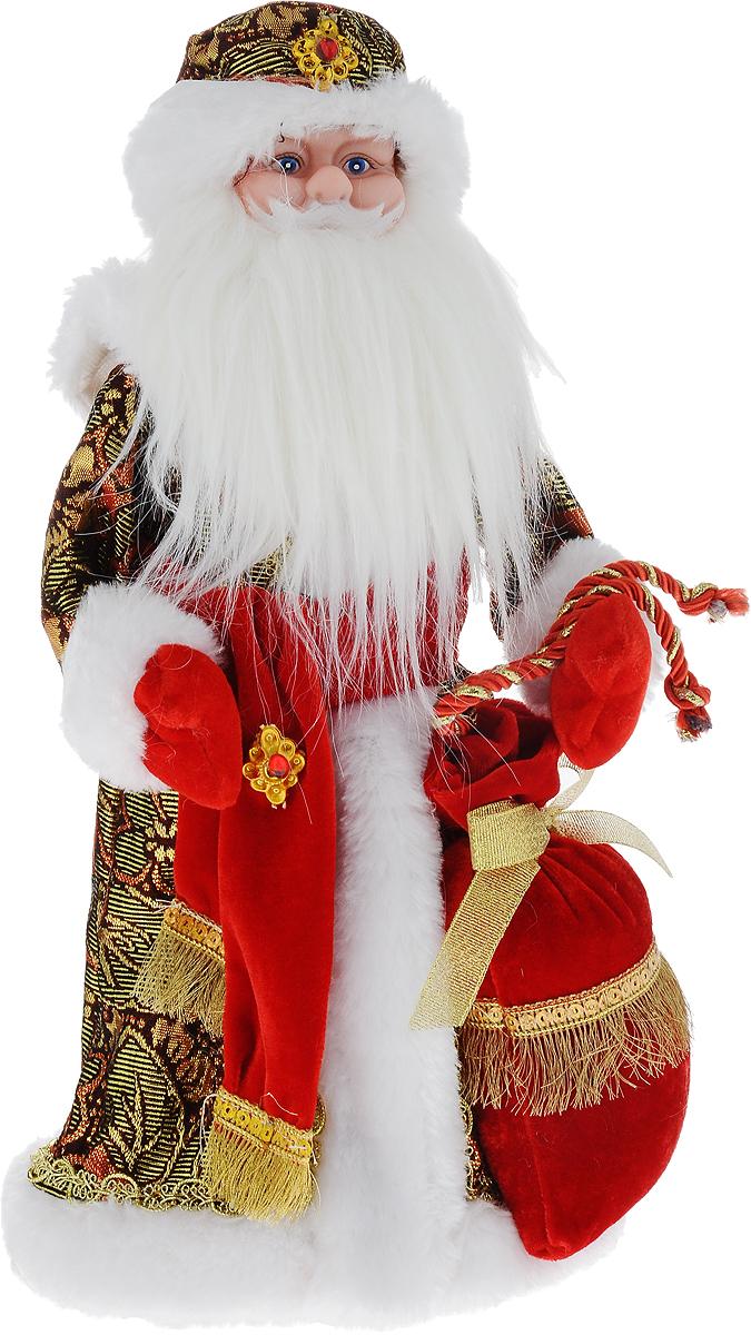 Фигурка новогодняя Winter Wings Дед Мороз, музыкальная, цвет: красный, золотой, высота 40 см. N0529020111114Декоративная музыкальная фигурка Winter Wings Дед Мороз изготовлена из пластика, полиэстера и ткани. Она подойдет для оформления новогоднего интерьера и принесет с собой атмосферу радости и веселья. Дед Мороз одет в длинную шубу с красивыми узорами, подвязанную ремешком с кисточками. На голове - шапка с мехом, на ногах - черные башмачки. В руках он держит посох и мешок с подарками. Его добрый вид и очаровательная густая, белая борода притягивают к себе восторженные взгляды.Новогодние украшения всегда несут в себе волшебство и красоту праздника. Создайте в своем доме атмосферу тепла, веселья и радости, украшая его всей семьей.Высота фигурки: 40 см.Фигурка работает от 4 батареек типа АА (батарейки в комплект не входят).