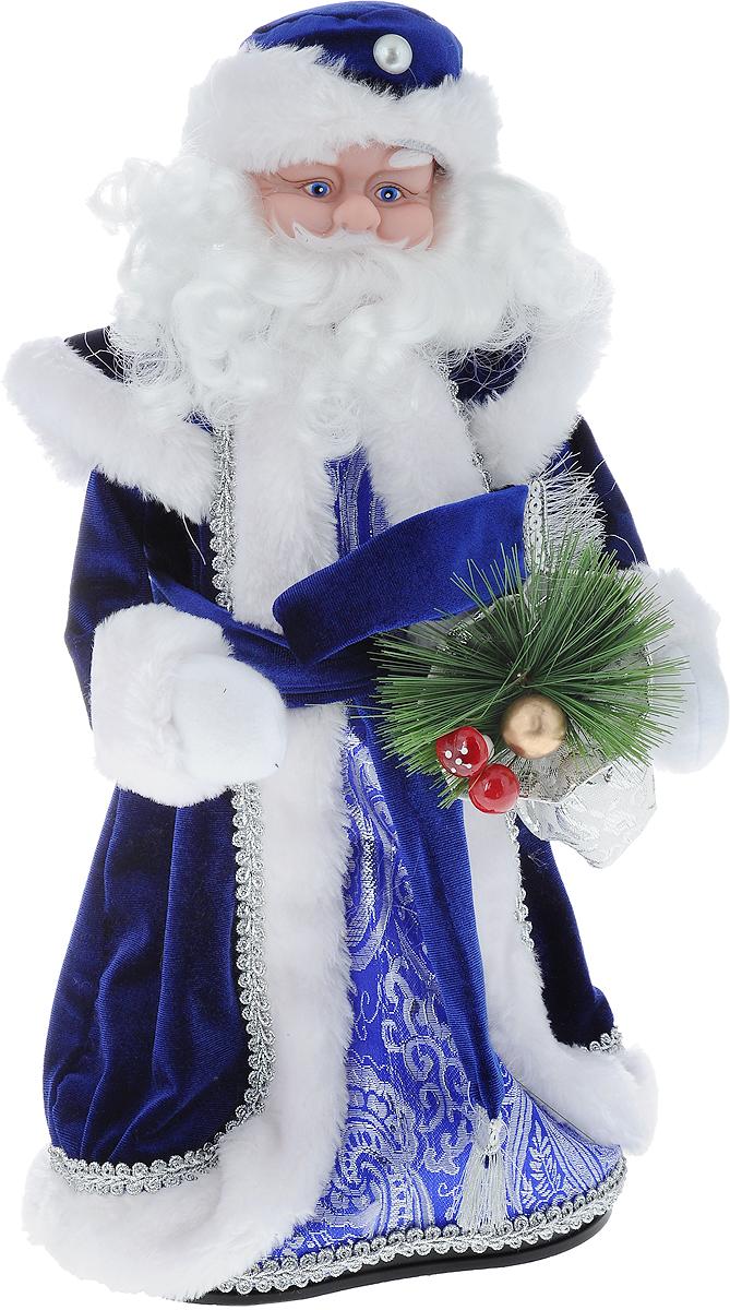 Фигурка новогодняя Winter Wings Дед Мороз, музыкальная, цвет: синий, белый, высота 40 см. N05296JUM 14302Декоративная музыкальная фигурка Winter Wings Дед Мороз изготовлена из пластика, полиэстера и ткани. Она подойдет для оформления новогоднего интерьера и принесет с собой атмосферу радости и веселья. Дед Мороз одет в длинную шубу с красивыми узорами, подвязанную ремешком с кисточками. На голове - шапка с мехом, на ногах - черные башмачки. В руках он держит посох и мешок с подарками. Его добрый вид и очаровательная густая, белая борода притягивают к себе восторженные взгляды.Новогодние украшения всегда несут в себе волшебство и красоту праздника. Создайте в своем доме атмосферу тепла, веселья и радости, украшая его всей семьей.Высота фигурки: 40 см.Фигурка работает от 4 батареек типа АА (батарейки в комплект не входят).