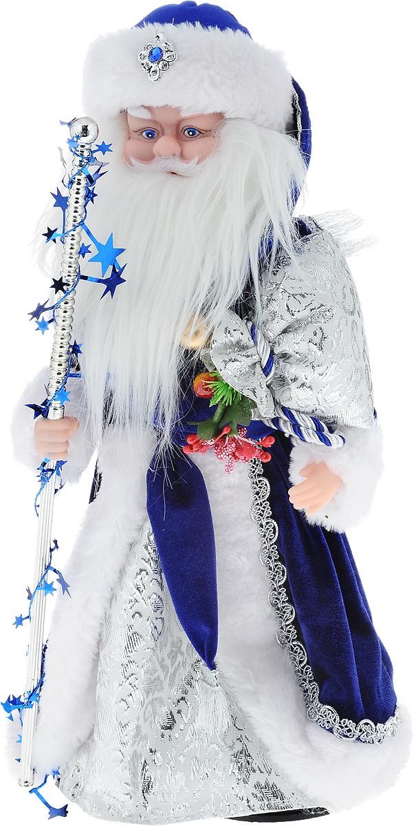 Фигурка новогодняя Winter Wings Дед Мороз, музыкальная, цвет: синий, белый, высота 40 см10823Декоративная музыкальная фигурка Winter Wings Дед Мороз изготовлена из пластика, полиэстера и ткани. Она подойдет для оформления новогоднего интерьера и принесет с собой атмосферу радости и веселья. Дед Мороз одет в длинную шубу с красивыми узорами, подвязанную ремешком с кисточками. На голове - шапка с мехом, на ногах - черные башмачки. В руках он держит посох и мешок с подарками. Его добрый вид и очаровательная густая, белая борода притягивают к себе восторженные взгляды.Новогодние украшения всегда несут в себе волшебство и красоту праздника. Создайте в своем доме атмосферу тепла, веселья и радости, украшая его всей семьей.Высота фигурки: 40 см.Фигурка работает от 4 батареек типа АА (батарейки в комплект не входят).