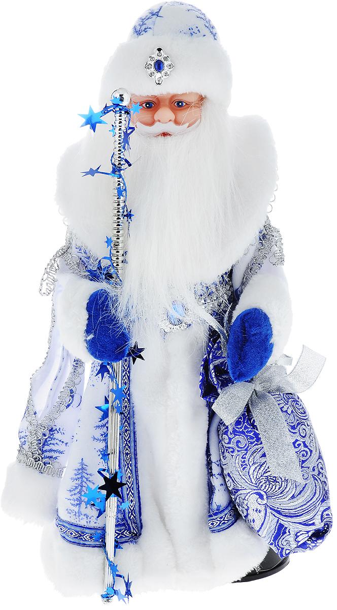 Фигурка новогодняя Winter Wings Дед Мороз, музыкальная, цвет: белый, синий, высота 40 см. N05287NLED-454-9W-BKДекоративная музыкальная фигурка Winter Wings Дед Мороз изготовлена из пластика, полиэстера и ткани. Она подойдет для оформления новогоднего интерьера и принесет с собой атмосферу радости и веселья. Дед Мороз одет в длинную шубу с красивыми узорами, подвязанную ремешком с кисточками. На голове - шапка с мехом, на ногах - черные башмачки. В руках он держит посох и мешок с подарками. Его добрый вид и очаровательная густая, белая борода притягивают к себе восторженные взгляды.Новогодние украшения всегда несут в себе волшебство и красоту праздника. Создайте в своем доме атмосферу тепла, веселья и радости, украшая его всей семьей.Высота фигурки: 40 см.Фигурка работает от 4 батареек типа АА (батарейки в комплект не входят).