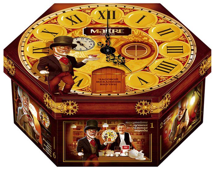 Maitre набор чая часы зеленый и черный, 120 г8714100712849Состав: Ассорти Часы – ассорти зеленого черного ароматизированного пакетированного чая в металлизированных пакетах 12 (6чер/6зел) вкусов из регулярной коллекции Maitre de The: зеленый: жасмин, лайм, мята; молочный улун черный: клубника со сливками, мятная ваниль, эрл грей, черная смородина, цейлон, кения, розовый грейпфрут и личи, Мэтр де люкс.Внутри реальный механизм часов!