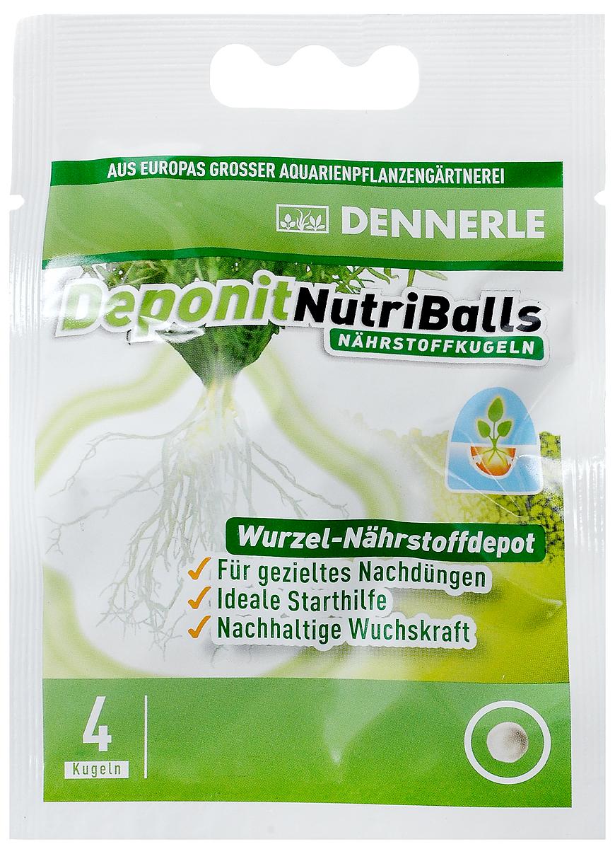 Удобрение для аквариумных растений Dennerle Deponit NutriBalls, виде шариков, 4 шт0120710Dennerle Deponit NutriBalls - это питательный запас для всех корневых аквариумных растений. Применяется для целенаправленного удобрения. Идеально подходит для новых аквариумных растений. Удобрение обеспечивает неослабевающую силу роста зрелых растений, содержит железо и важные микроэлементы.Дозировка: углубите в грунт около корней от 1 до 4 шариков в зависимости от размера растения.Товар сертифицирован.
