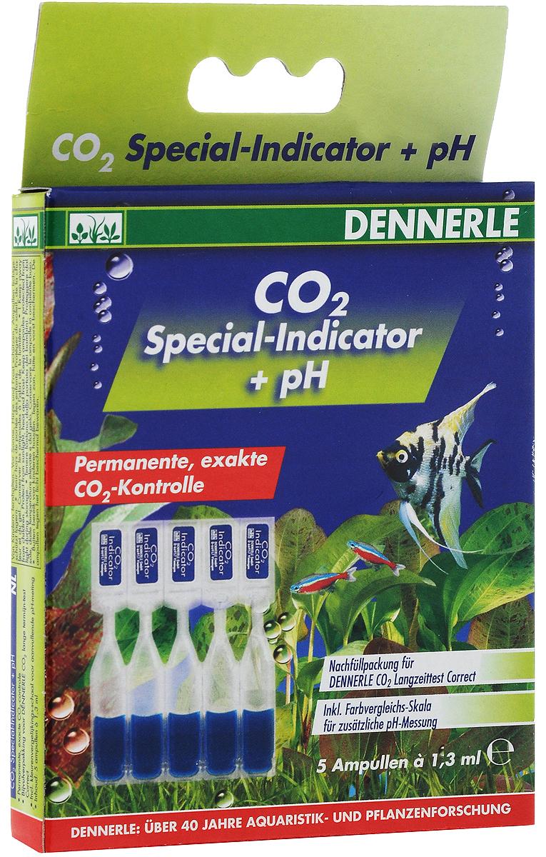 Комплект специальных индикаторных жидкостей рН Dennerle СО2, 5 ампул0120710Комплект Dennerle CO2 содержит 5 ампул специальной индикаторной жидкости pH по 1,3 мл, а также шестицветную сравнительную шкалу. Хватает на 5 месяцев.Принцип действия:Из аквариумной воды CO2 попадает в реакционную камеру, где он растворяется в специальном индикаторе CO2 Special-indicator. Уже через короткое время в индикаторе устанавливается такой же уровень содержания углекислого газа, как и в аквариумной воде.На уровень содержания CO2 индикатор реагирует следующим образом: синий цвет=слишком мало CO2, зеленый цвет=уровень содержания СО2 в норме, желтый цвет=слишком много СО2.Товар сертифицирован.