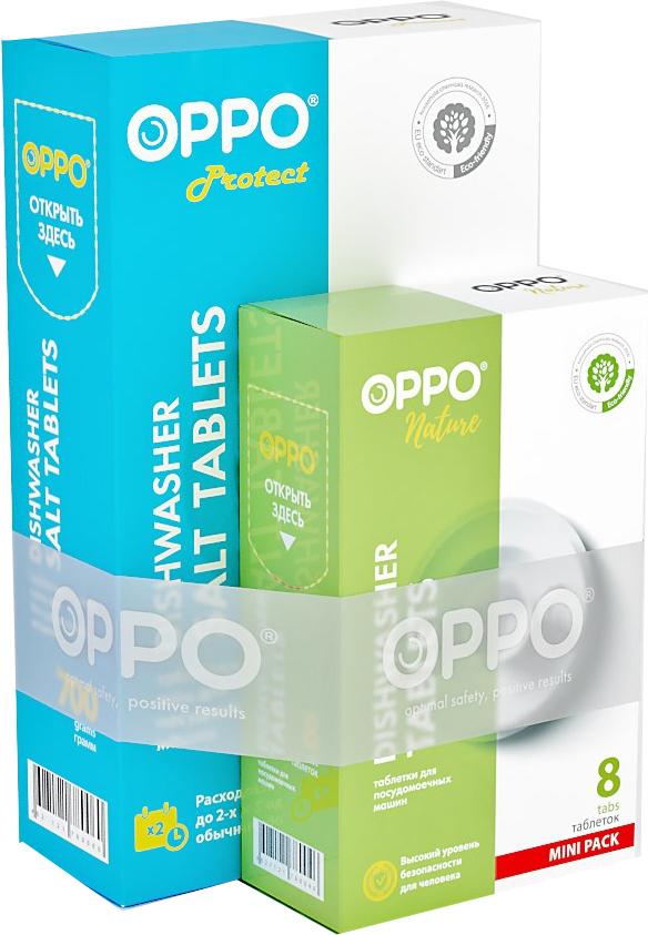 Комплект для посудомоечных машин Oppo Salt700+Nature8: соль Protect 700 г, таблетки Nature, 8шт х 20 г7900092 по цене 1