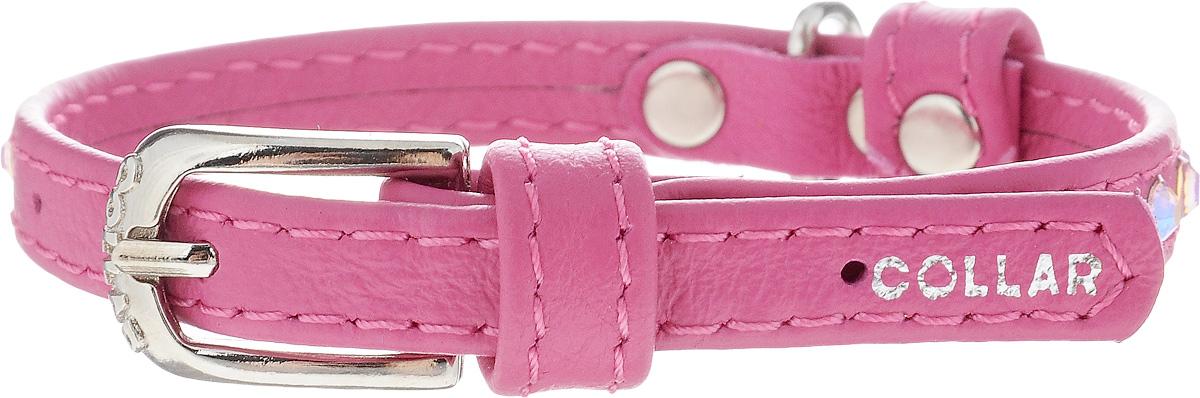 Ошейник для собак CoLLaR Glamour, цвет: розовый, ширина 9 мм, обхват шеи 19-25 смDM-160129-2Ошейник CoLLaR Glamour изготовлен из кожи, устойчивой к влажности и перепадам температур. Клеевой слой, сверхпрочные нити, крепкие металлические элементы делают ошейник надежным и долговечным. Изделие отличается высоким качеством, удобством и универсальностью.Размер ошейника регулируется при помощи металлической пряжки. Имеется металлическое кольцо для крепления поводка. Ваша собака тоже хочет выглядеть стильно! Модный ошейник, декорированный стразами, станет для питомца отличным украшением и выделит его среди остальных животных. Минимальный обхват шеи: 19 см. Максимальный обхват шеи: 25 см. Ширина: 0,9 см.