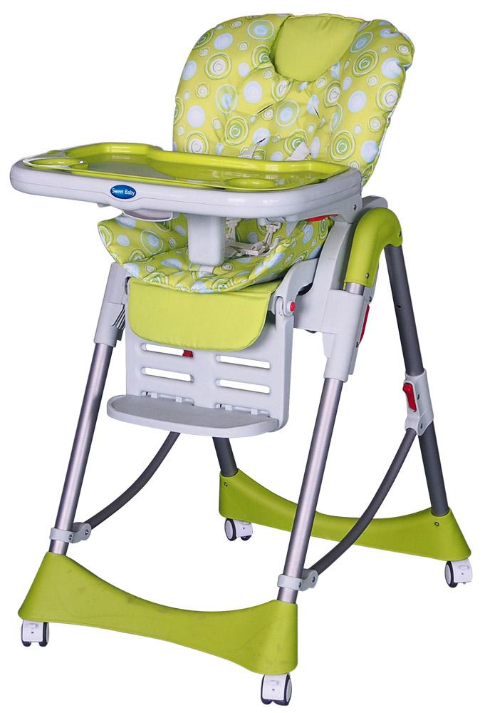 Для детей с 0 месяцев до 3 лет. Особенность стульчика – ручной Механизм качания сидения (вперед-назад). Стульчик изготовлен из выcококачественного материала, в составе которого безопасный пластик. Накладка на сидение сделана из экокожи. Стульчик оснащен регулируемым 5-точечным ремнем безопасности. Поднос на стульчике легко снимается и имеет 3 позиции установки, также поднос можно подвесить на задних ножках стула. На подносе имеется съемная накладка и 2 углубления для стаканов. У стульчика 3 позиции наклона спинки, максимальный угол наклона-170°. Возможно регулировать сиденья на наиболее удобную высоту (максимально 103 см), всего 5 уровней высоты. У подножки стульчика 3 позиции длинны подножки и 3 уровня угла наклона. Чехол сидения – съемный. Кресло оснащено 4-мя легко маневренными колёсиками с тормозами. Необходимые мелочи и любимые игрушки малыша можно держать под рукой в удобной корзинке. Имеется анатомическая вставка для разделения ног.